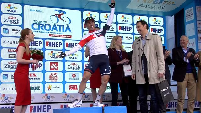 Enger celebrates Stage 6 win with superb dance on podium