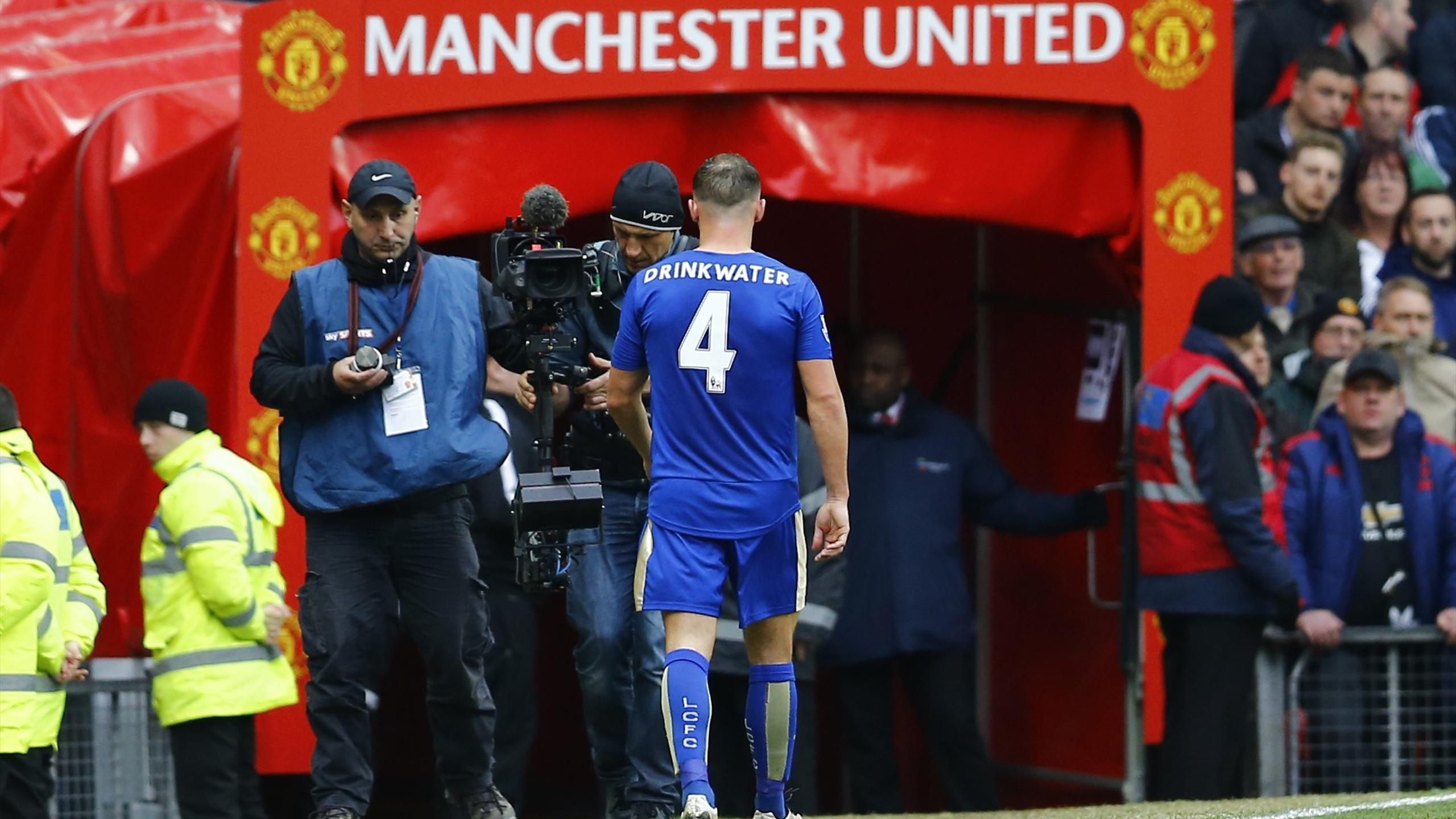 Leicester City's Danny Drinkwater looks dejected after being sent off