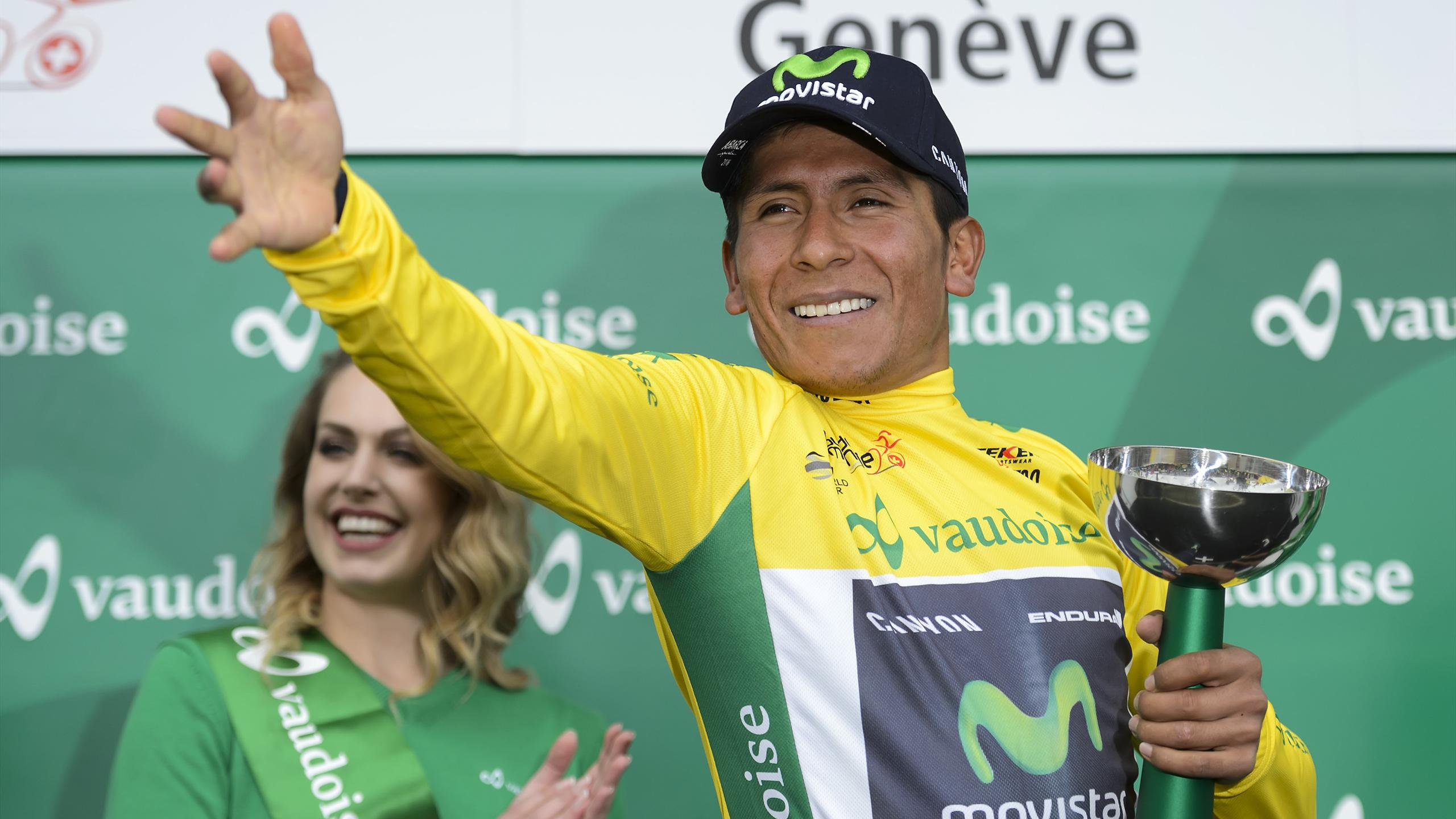 Winner of the race, Colombian Nairo Quintana of Team Movistar gestures during the podium ceremony of the last stage of the 70th Tour de Romandie