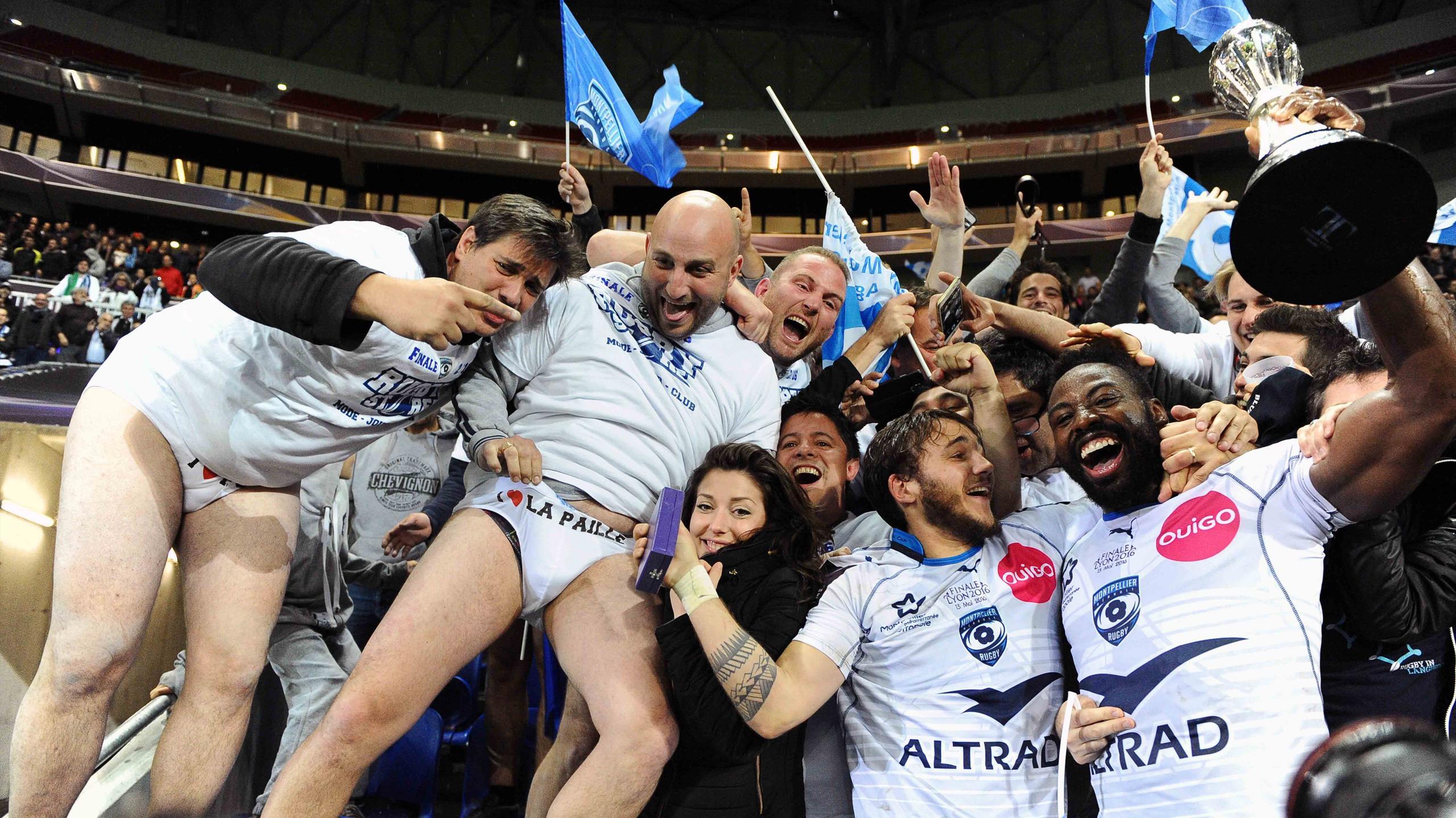 Fulgence Ouedraogo et Benoît Paillaugue (Montpellier) fêtent le titre en Challenge Cup