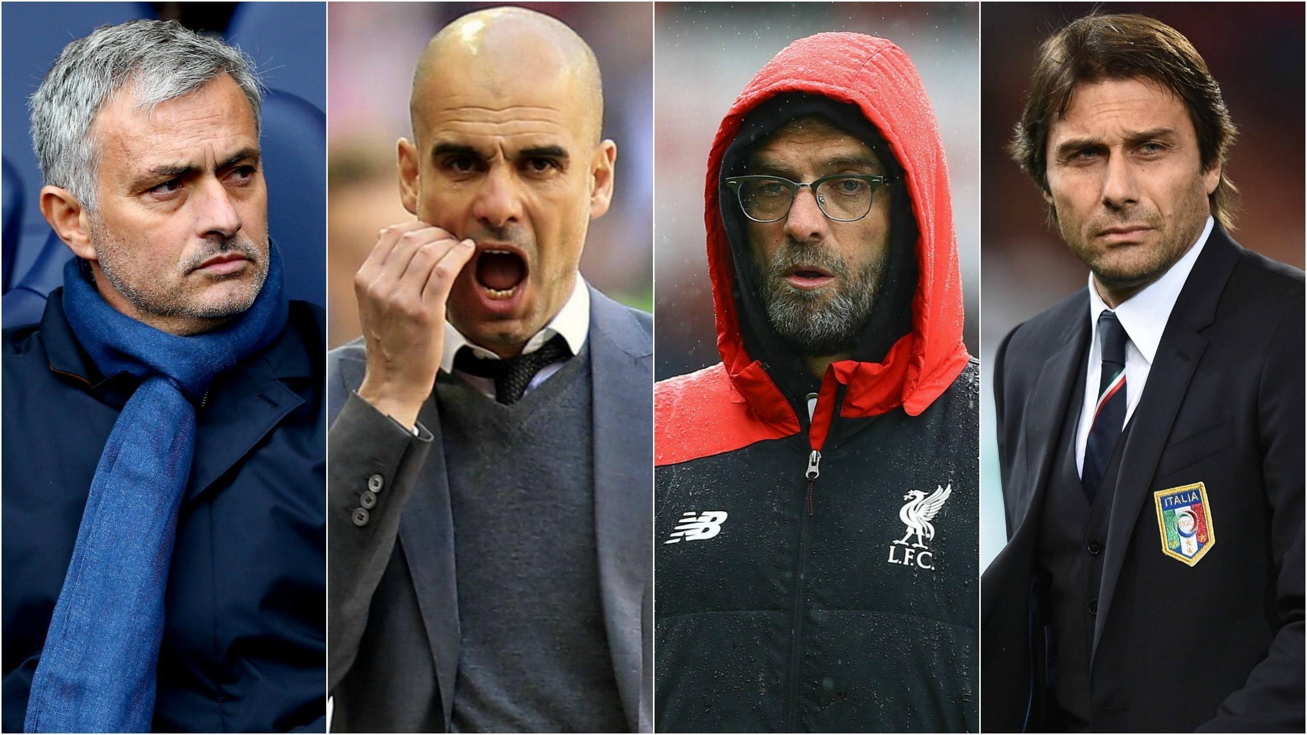 Jose Mourinho, Pep Guardiola, Jurgen Klopp and Antonio Conte