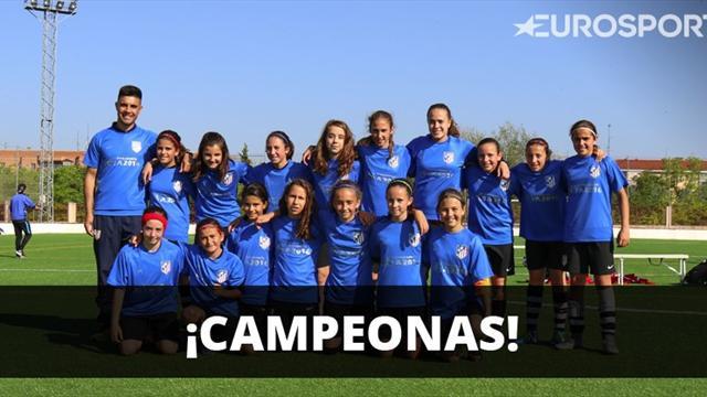 Las niñas del Atlético, campeonas de una Liga masculina