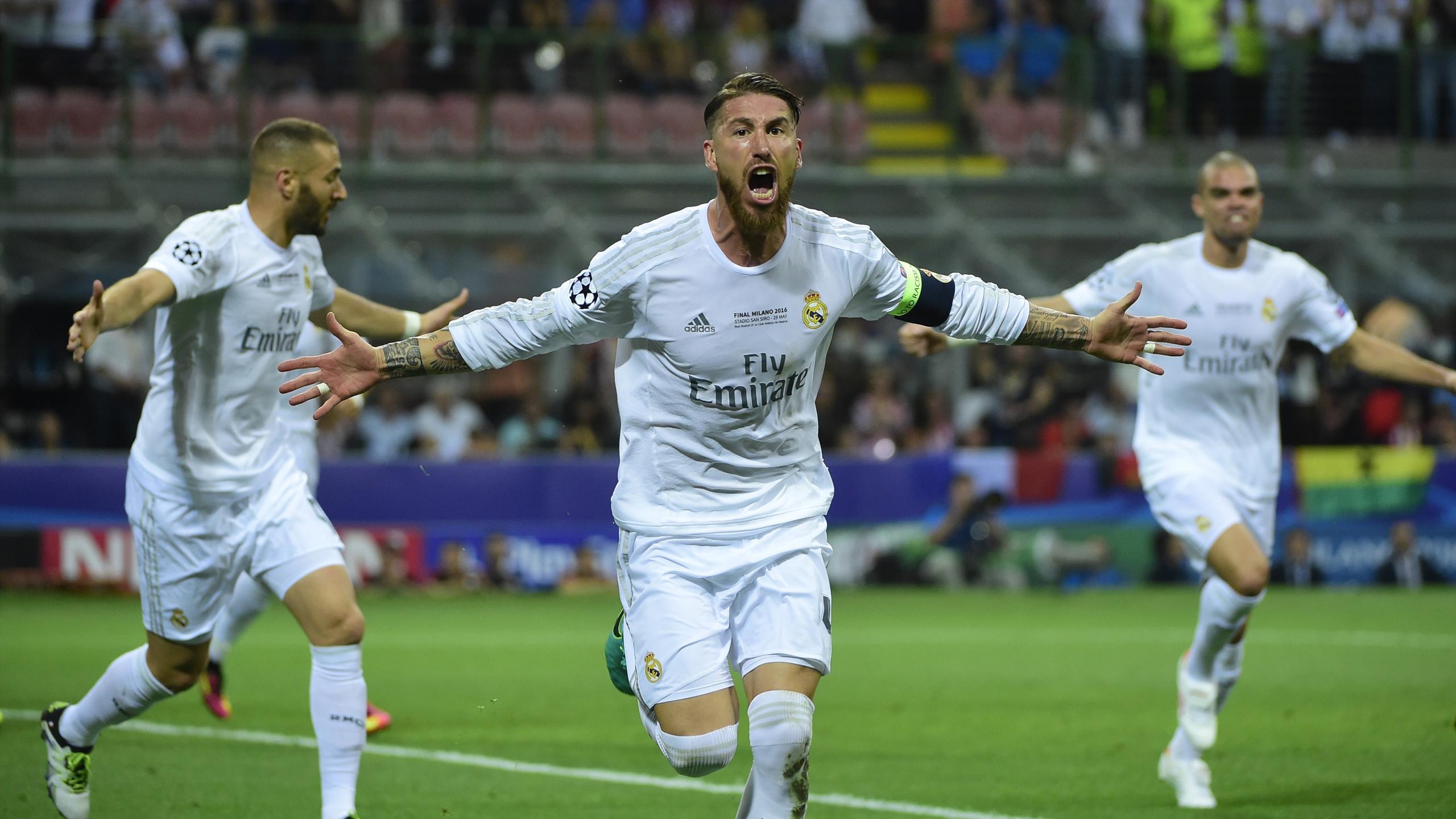 Sergio Ramos celebration, Real Madrid-Atletico Madrid, Champions League, AFP