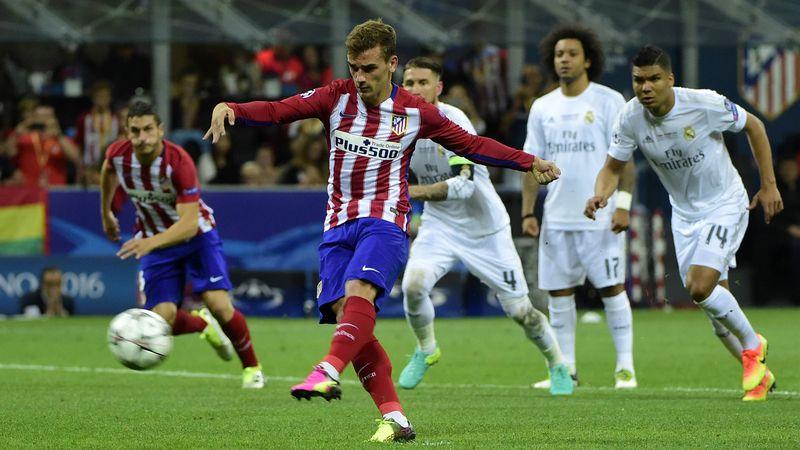 Antoine Griezmann penalty kick, Real Madrid-Atletico Madrid, Champions League, AFP