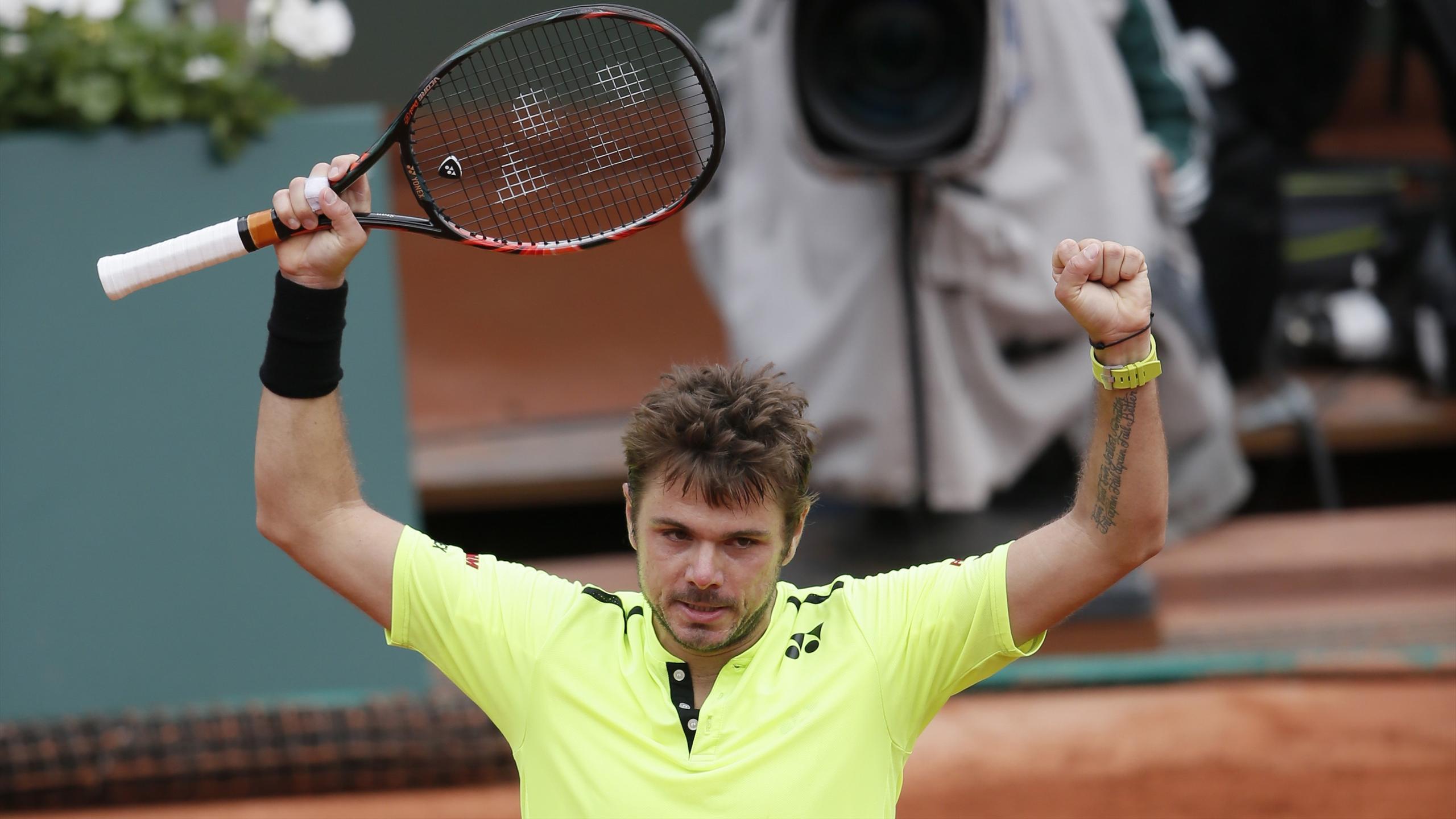 Switzerland's Stan Wawrinka celebrates at Roland Garros