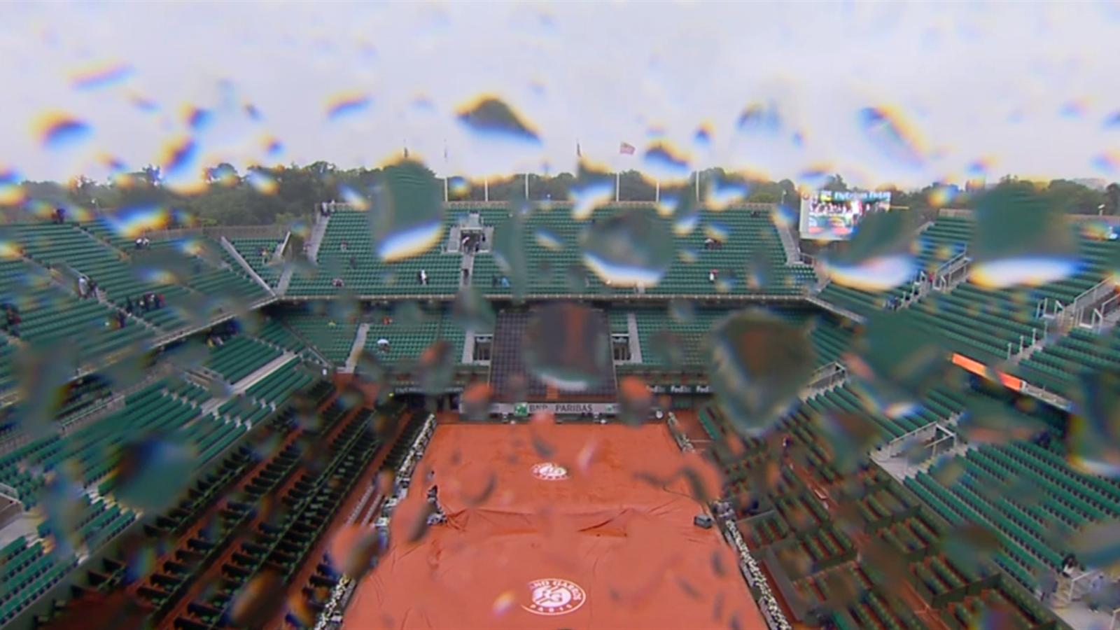 Matches interrompus par la pluie pas de reprise avant 17h30 roland garros - Bois noirci par la pluie ...