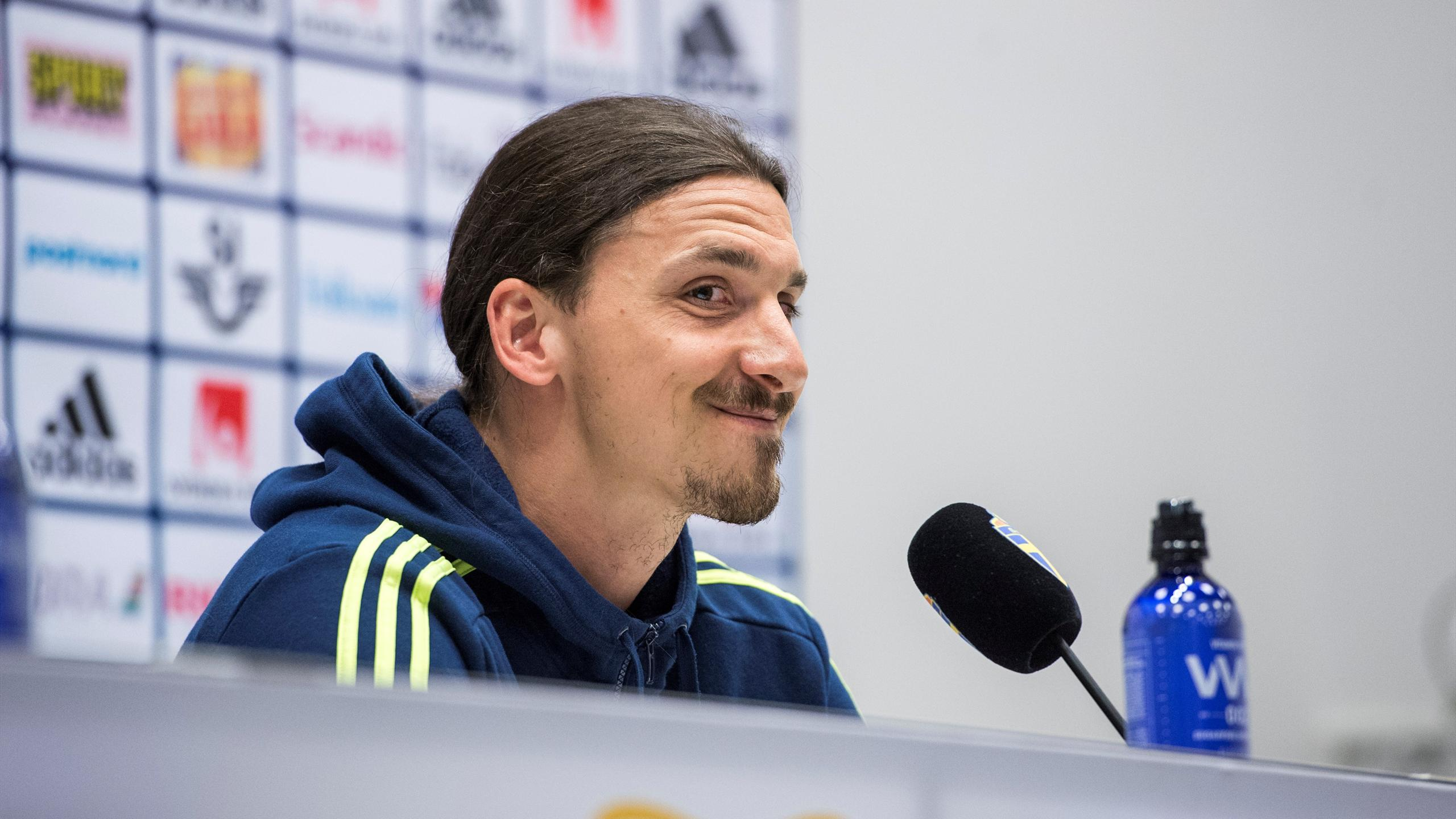 Sweden's Zlatan Ibrahimovic gestures during a news conference