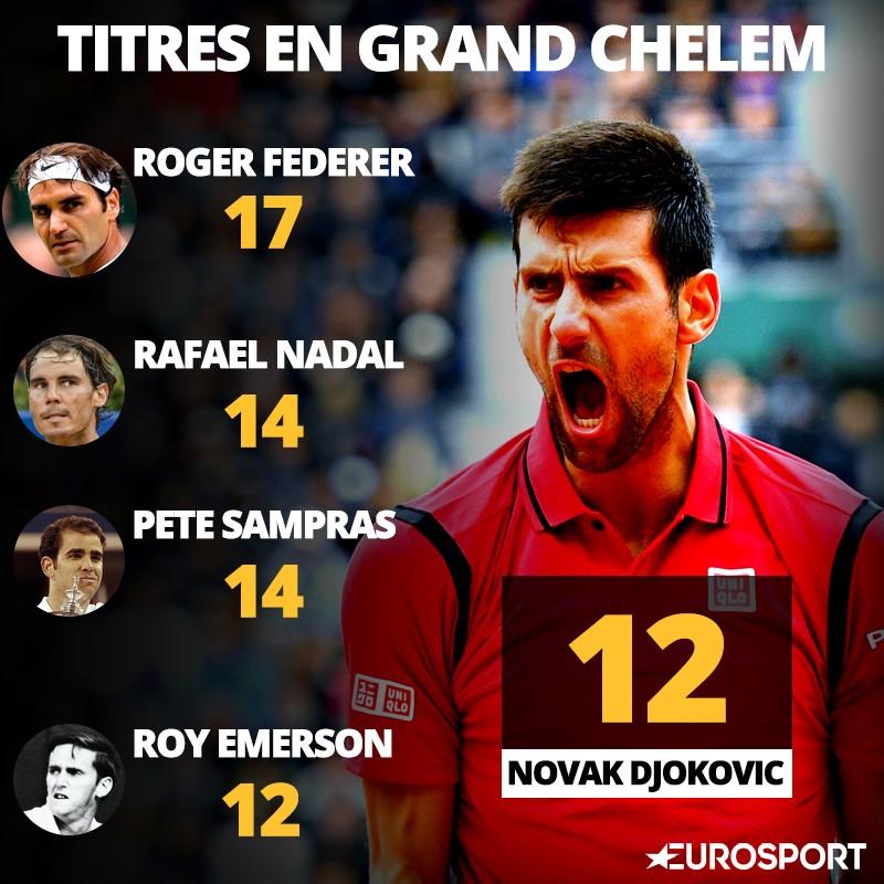Visuel comparatif de Djokovic en Grand Chelem (Federer, Nadal etc...)