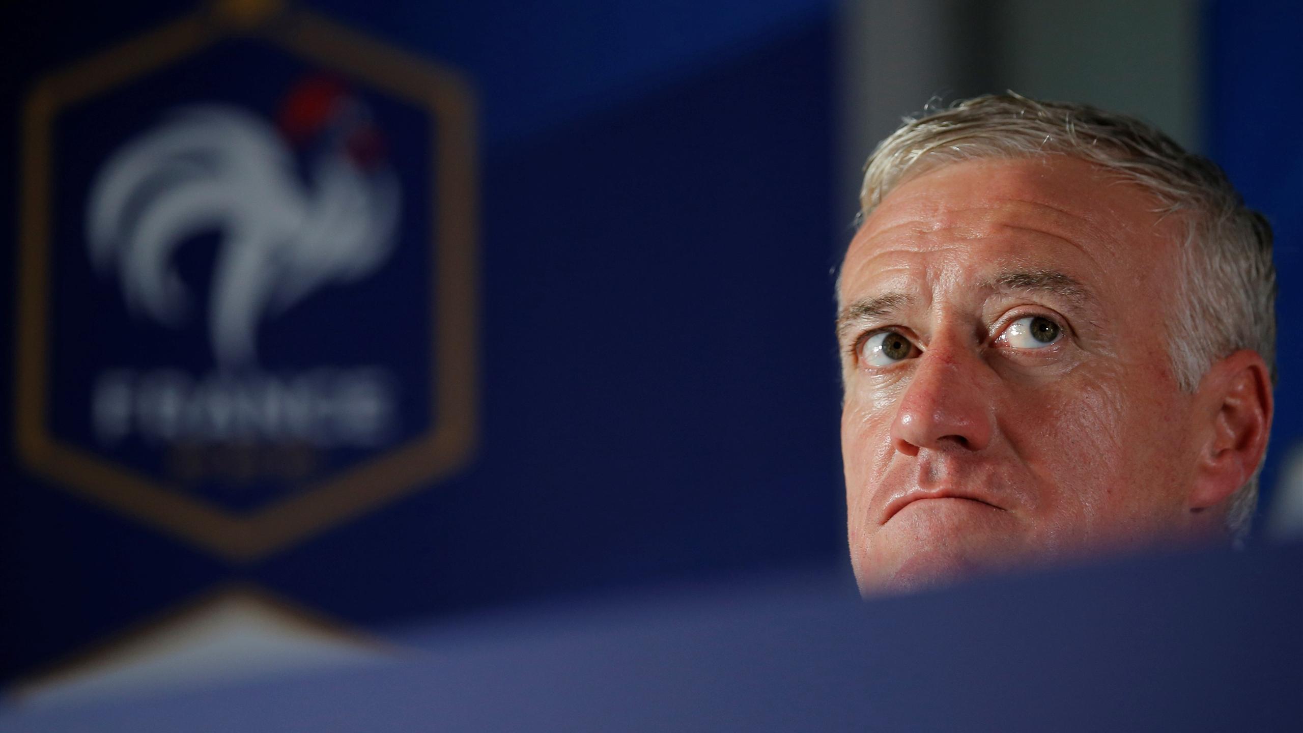 France's national soccer team coach Didier Deschamps attends a news conference