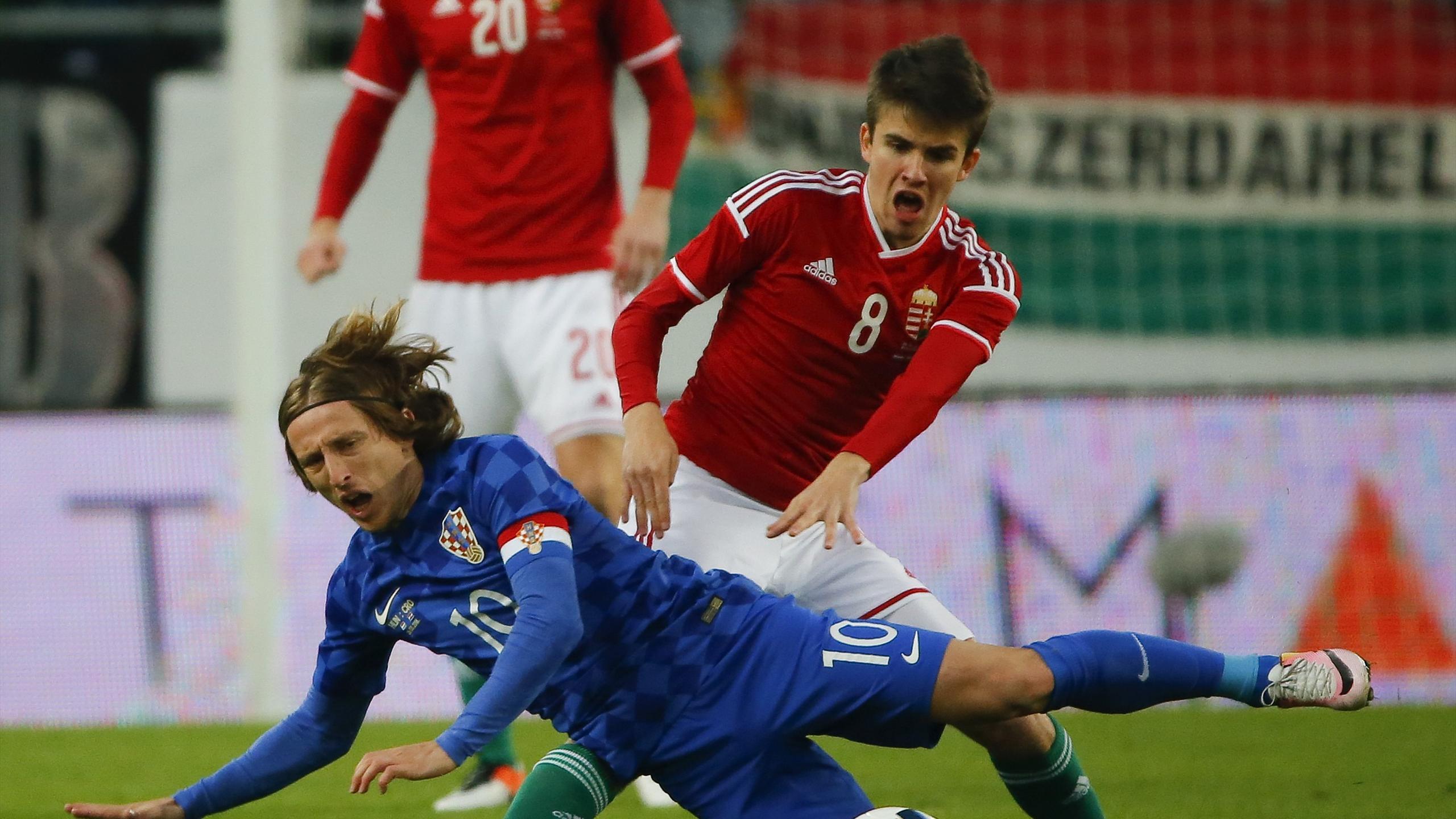 Hungary's Adam Nagy and Croatia's Luka Modric in action