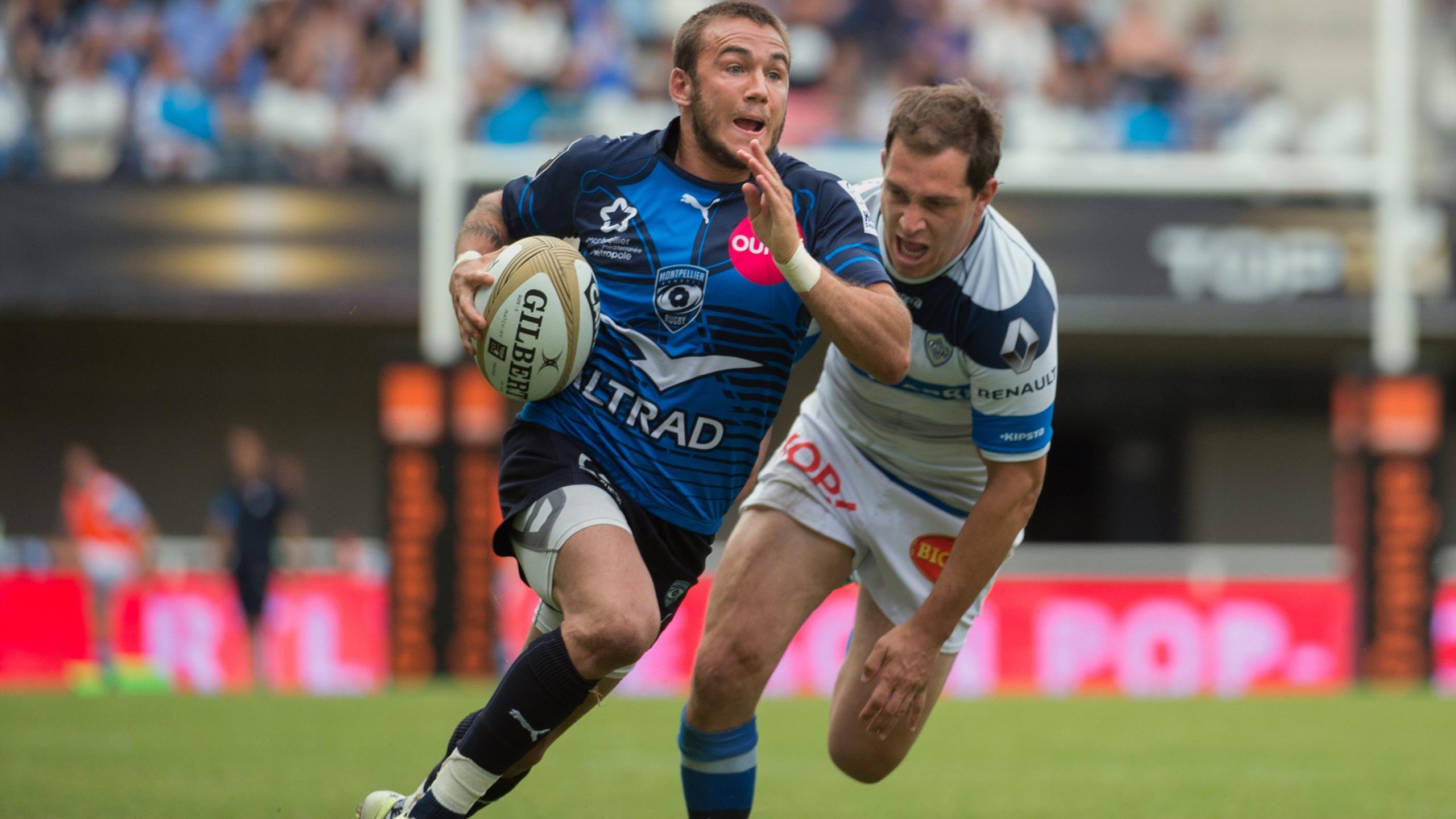 Benoît Paillaugue (Montpellier) échappe à Benjamin Urdapilleta (Castres)