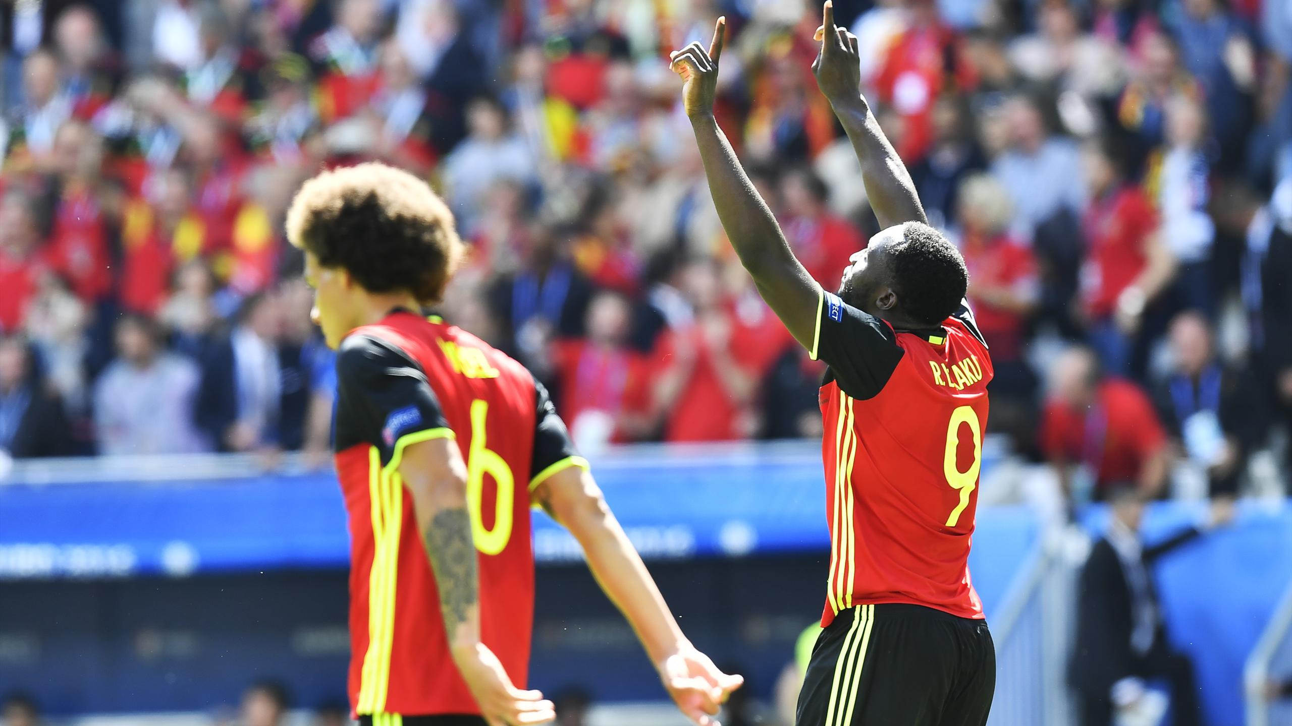 Romelu Lukaku après le troisième but de la Belgique
