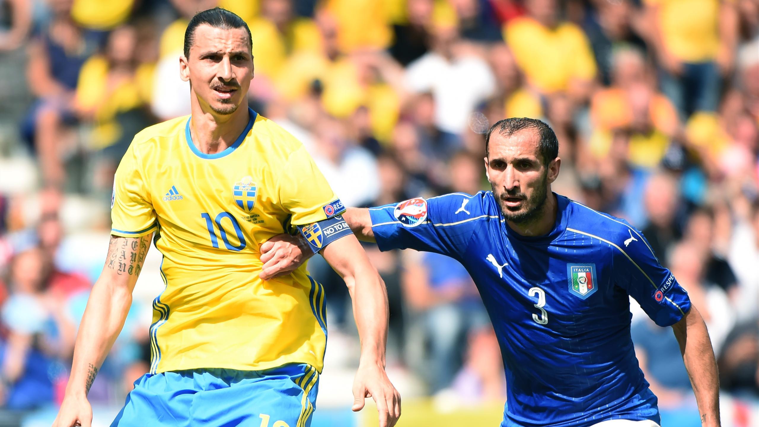 Zlatan Ibrahimovic, Giorgio Chiellini, Italy-Sweden, Euro 2016 (AFP)
