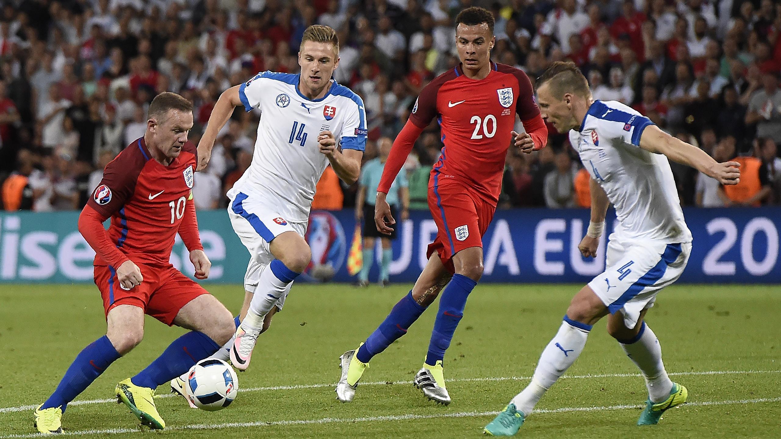 Rooney et Alli (Angleterre) ne parviennent pas à se défaire de la défense de la Slovaquie