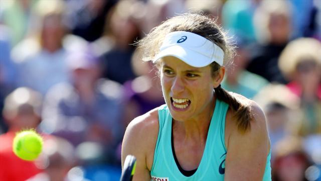Konta overwhelms Kvitova to reach Eastbourne quarters