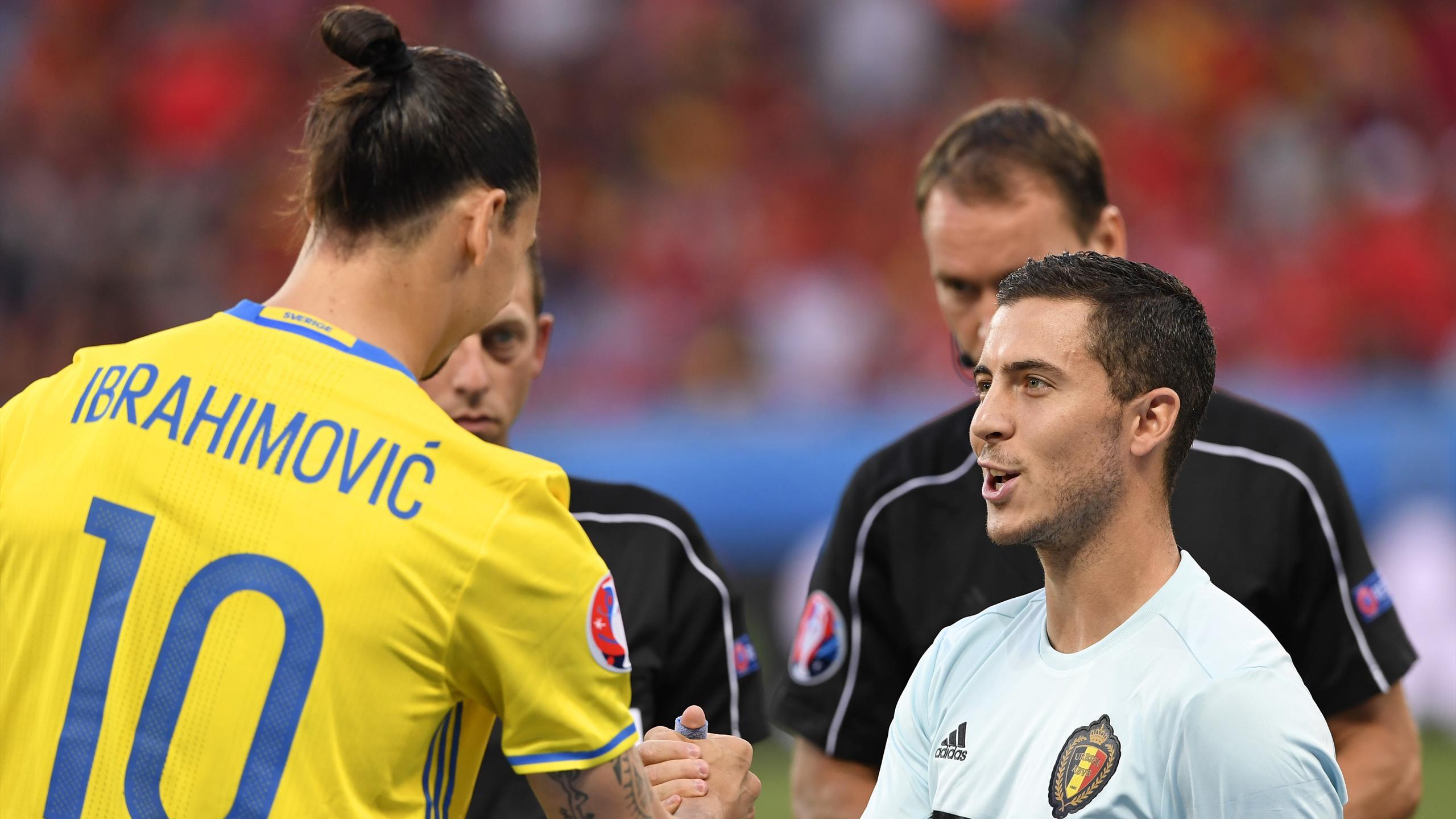 Eden Hazard et Zlatan Ibrahimovic avant Suède - Belgique