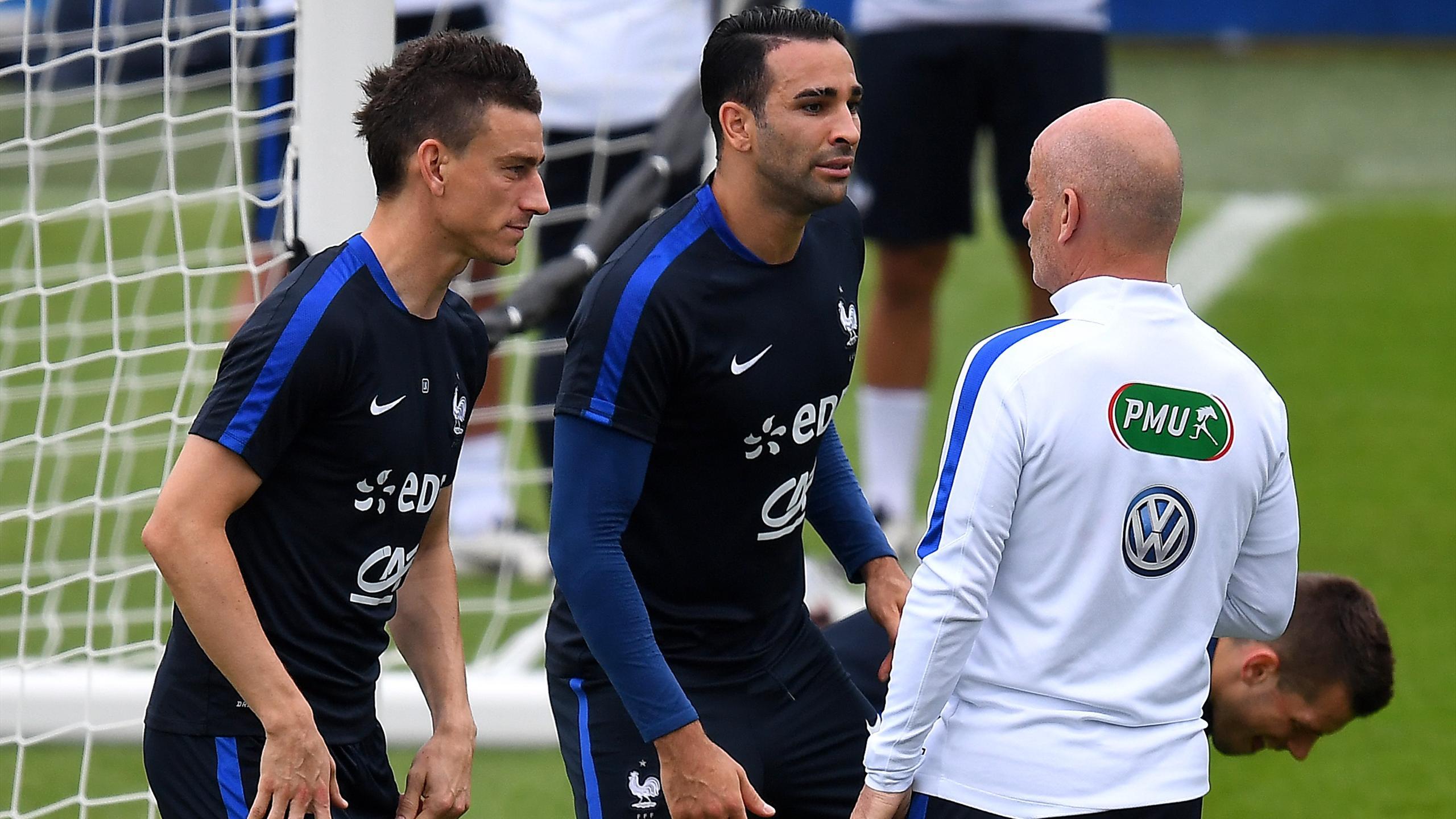 Adil Rami et Laurent Koscielny avec Guy Stéphan à Clairefontaine