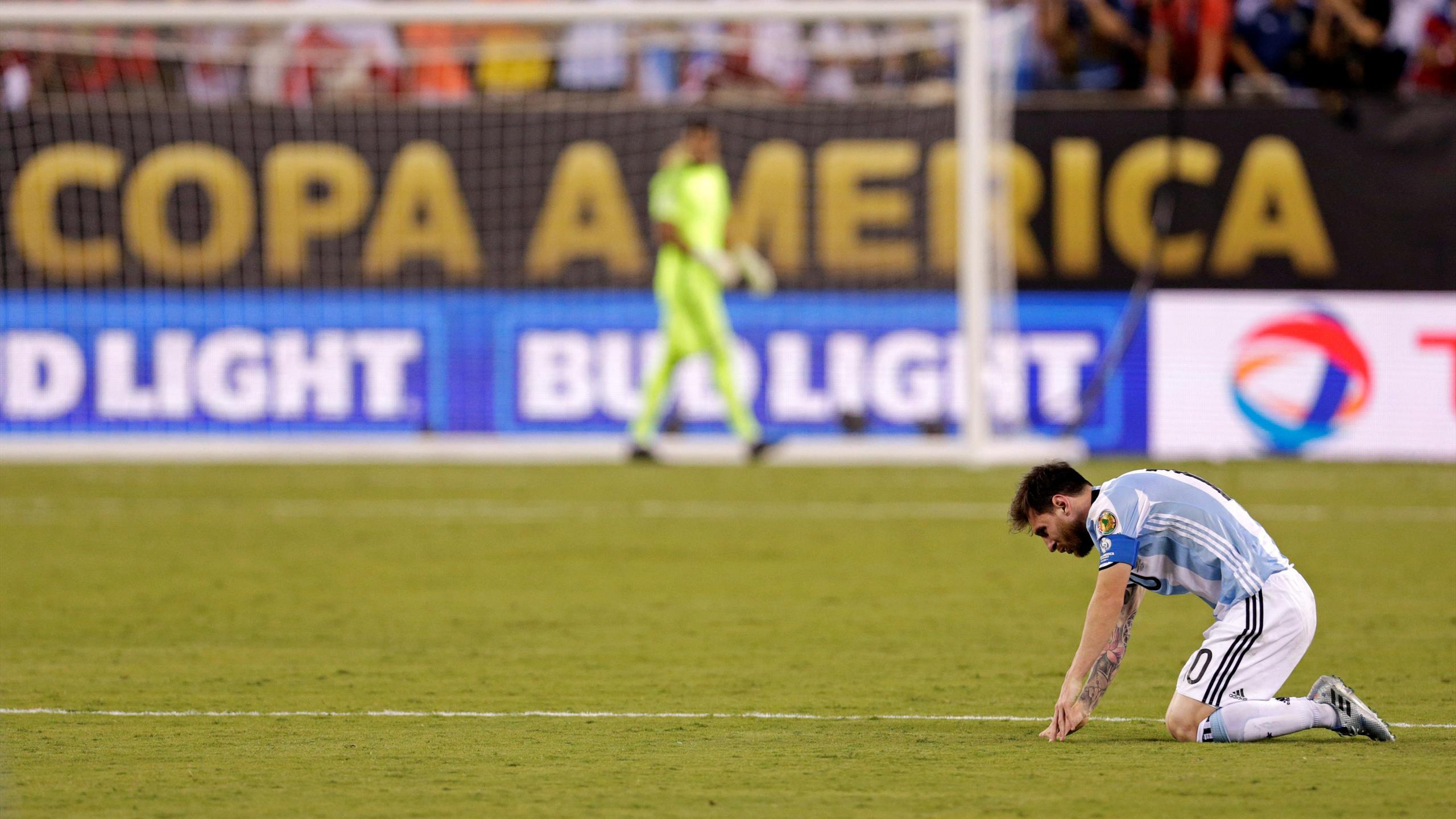 Argentina midfielder Lionel Messi (10) reacts
