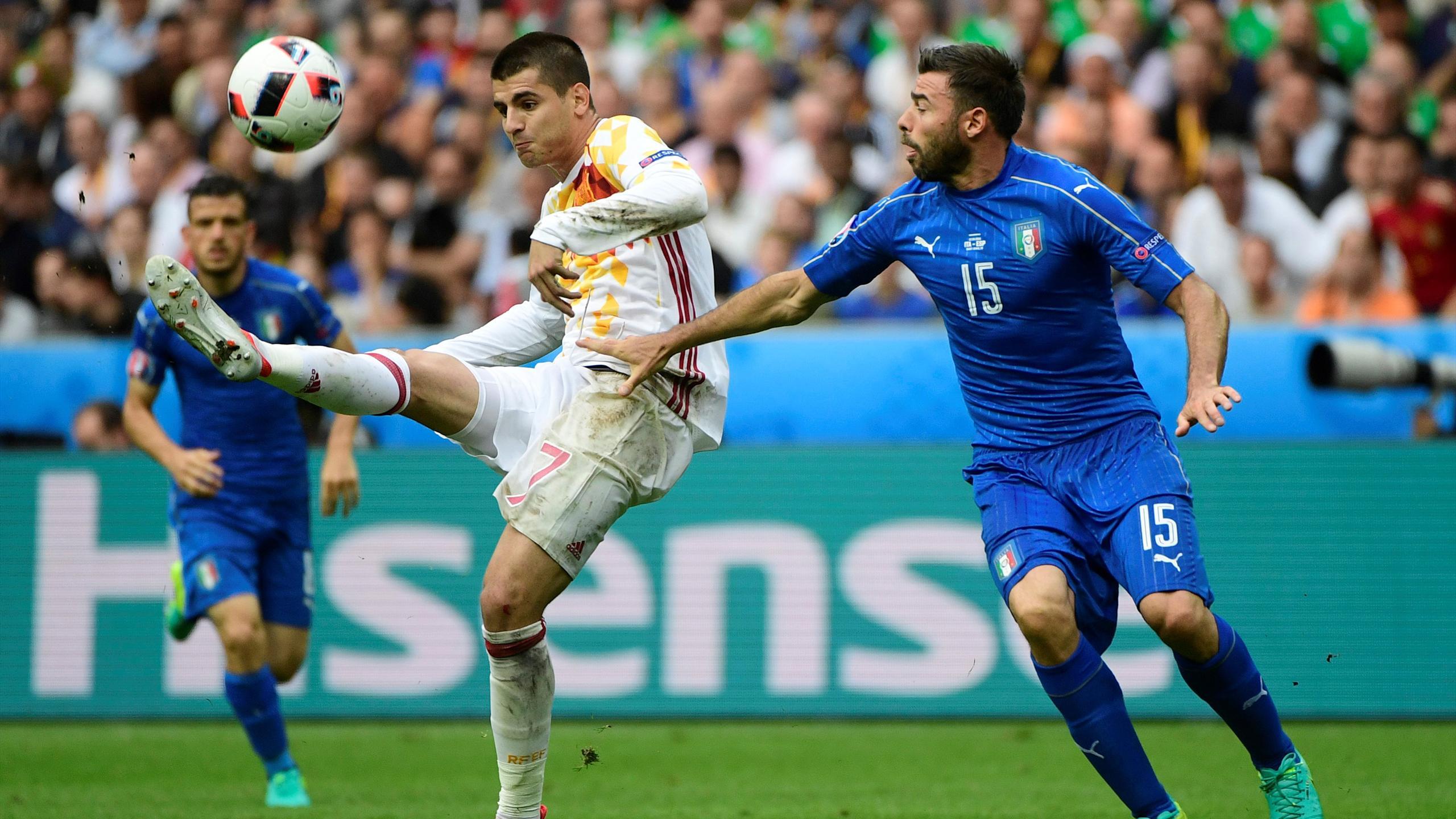 Morata, Barzagli - Italy v Spain - Euro 2016