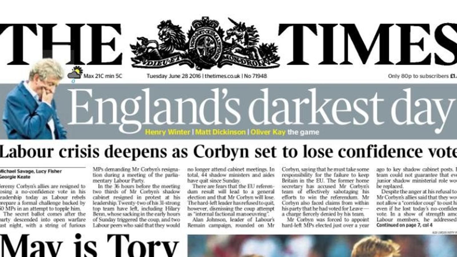 la honte l 39 humiliation le jour le plus sombre la presse anglaise fustige sa s lection. Black Bedroom Furniture Sets. Home Design Ideas