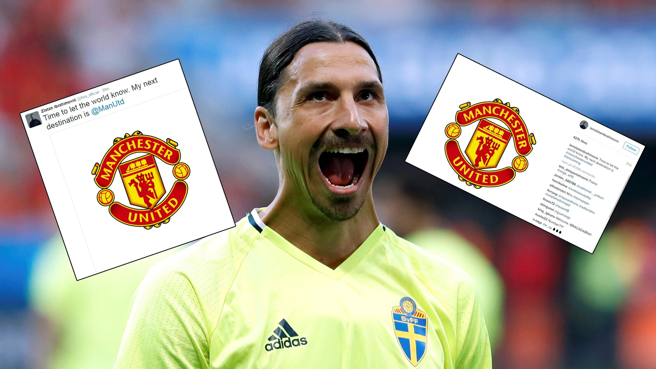 Reaction to Zlatan Ibrahimovic announcing Manchester United move