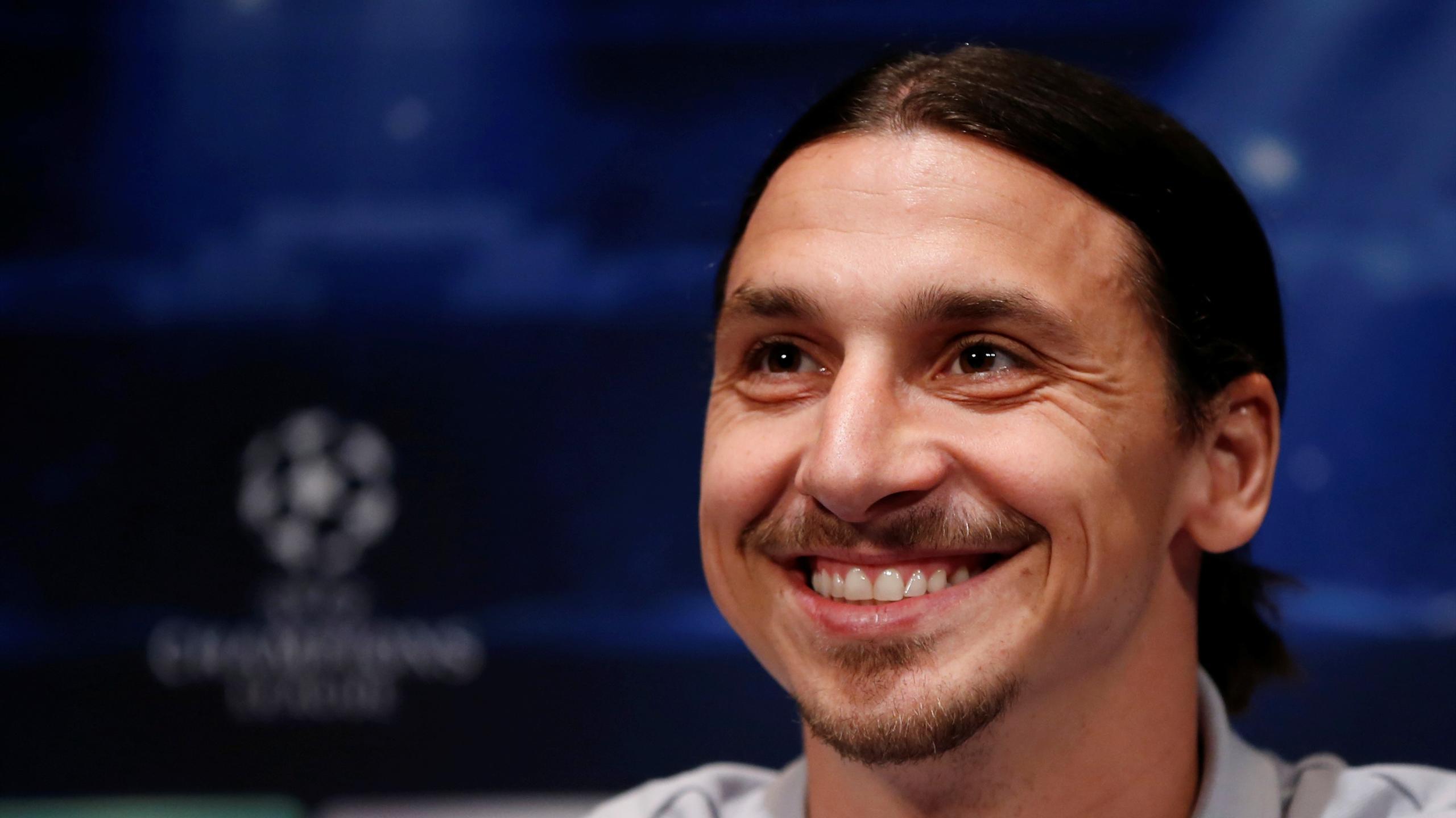 Paris St Germain's Zlatan Ibrahimovic addresses at a news conference