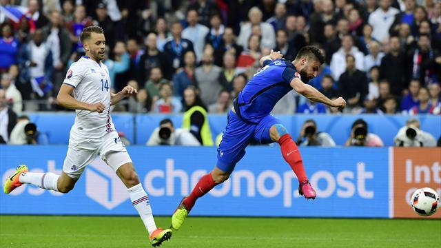 D'une frappe croisée limpide, Giroud a ouvert le score pour les Bleus