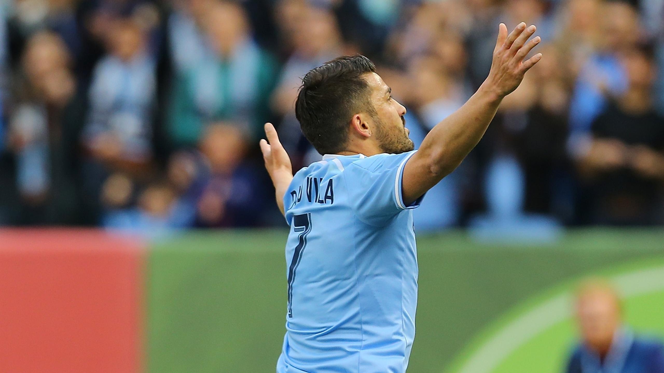 David Villa #7 of New York City FC celebrates his goal
