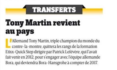 Tony Martin zu Bora?