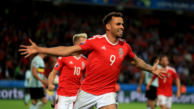 Hal Robson-Kanu celebrates scoring in Wales' 3-1 victory over Belgium in the quarter-final of Euro 2016.