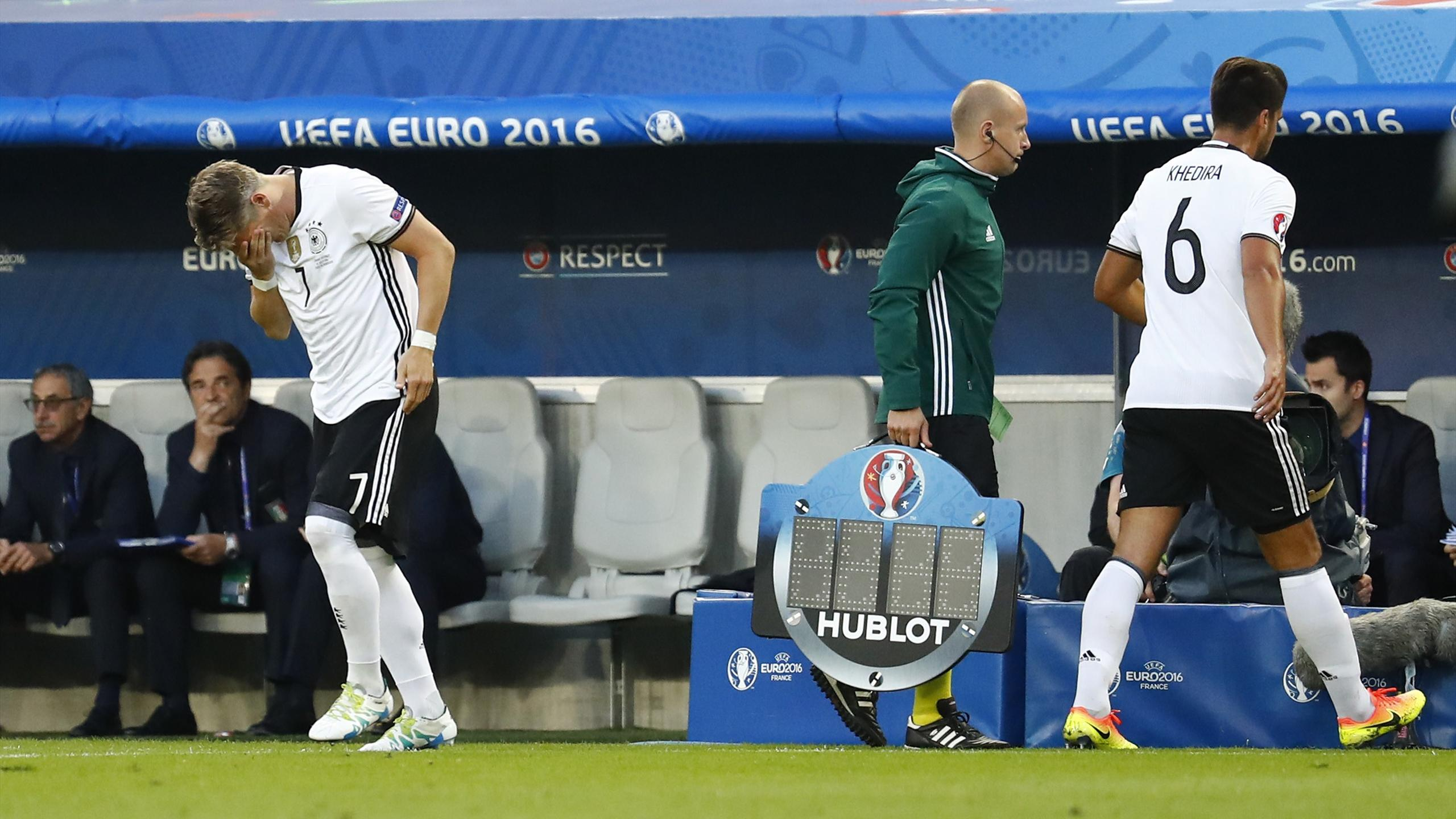 Germany's Bastian Schweinsteiger is substituted on for Sami Khedira