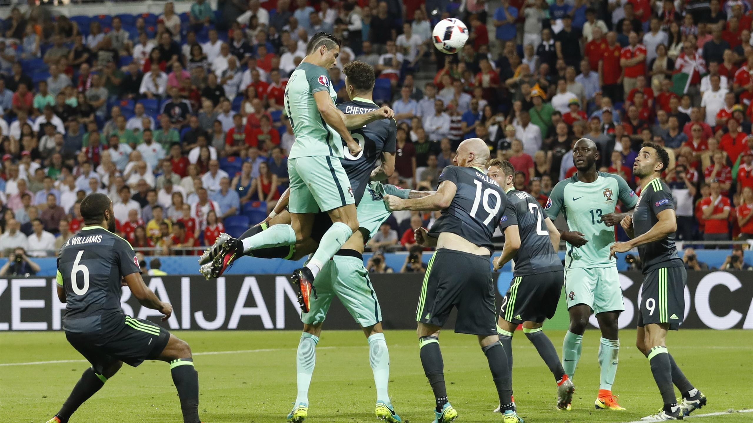Portugal's Cristiano Ronaldo scores against Wales
