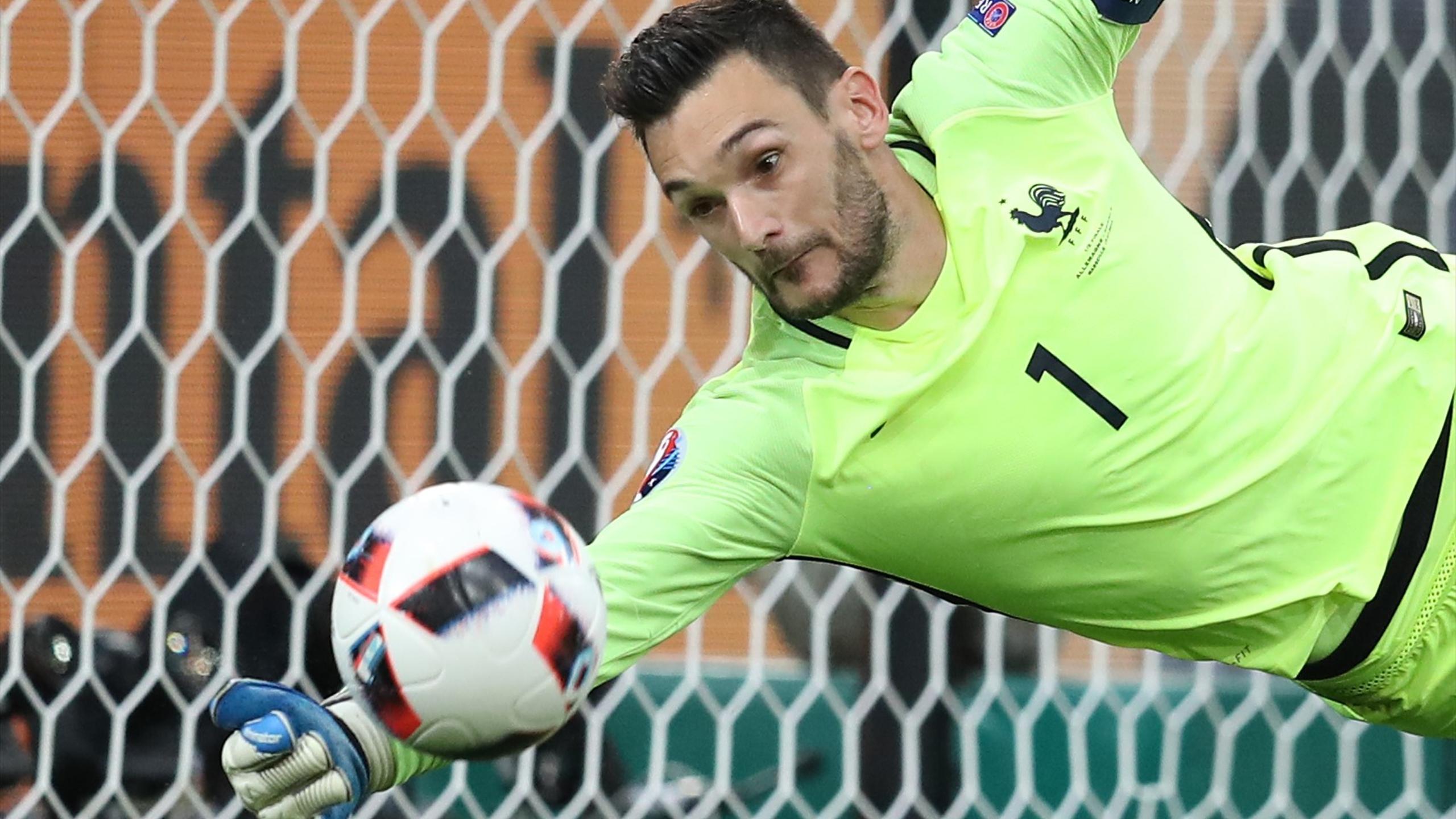 Hugo Lloris makes a save againt Germany.