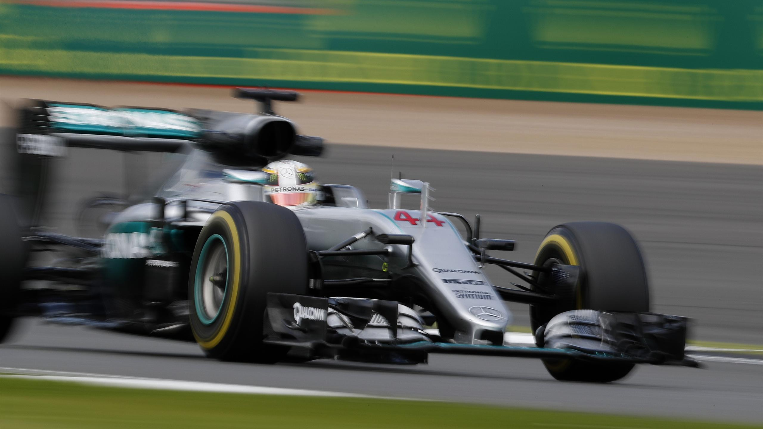 Mercedes AMG Petronas F1 Team's British driver Lewis Hamilton drives during the second practice session at Silverstone motor racing circuit in Silverstone, central England, on July 8, 2016, ahead of the July 10 British Formula One Grand Prix.