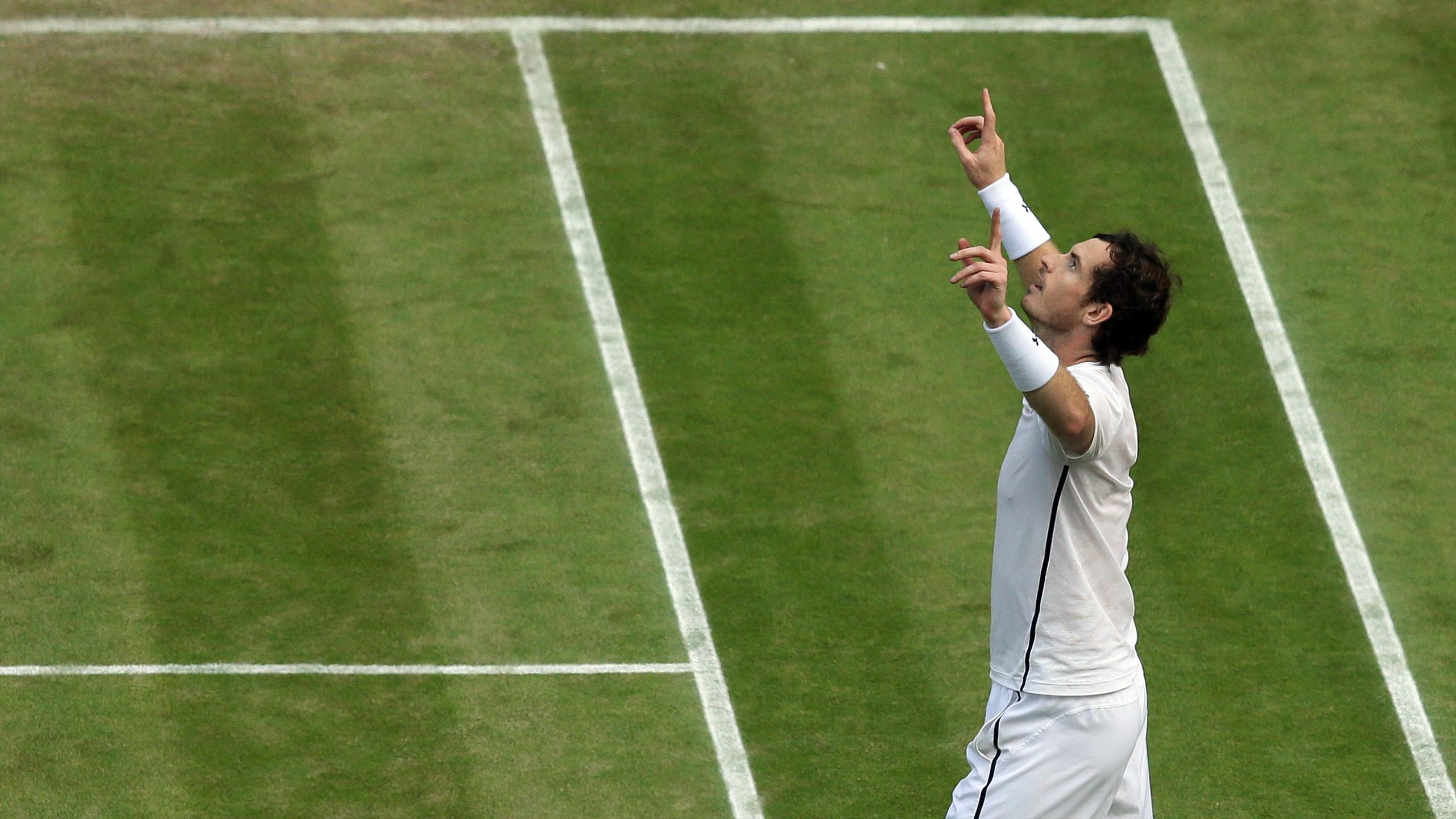 Great Britain's Andy Murray celebrates winning his match against Czech Republic's Tomas Berdych