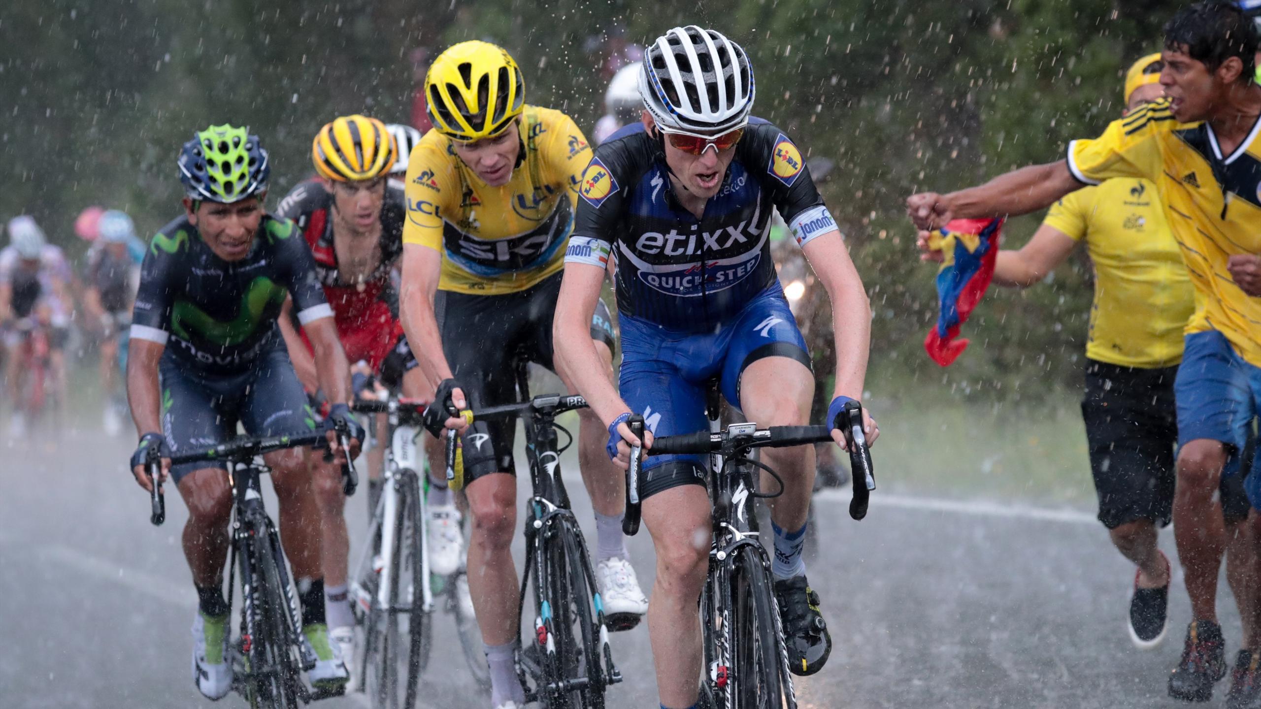 Nairo Quintana derrière Chris Froome et Dan Martin dans la montée d'Andorre - Arcalis