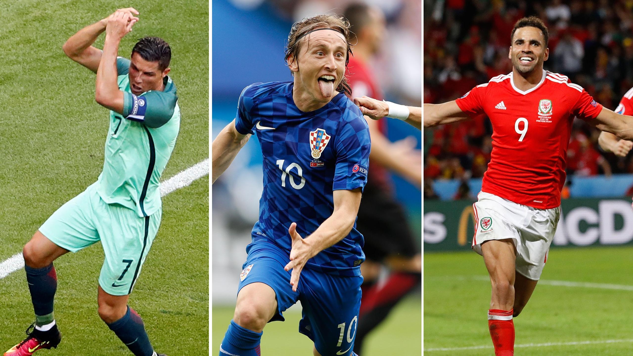 Cristiano Ronaldo of Portugal, Luka Modric of Croatia and Hal Robson-Kanu of Wales