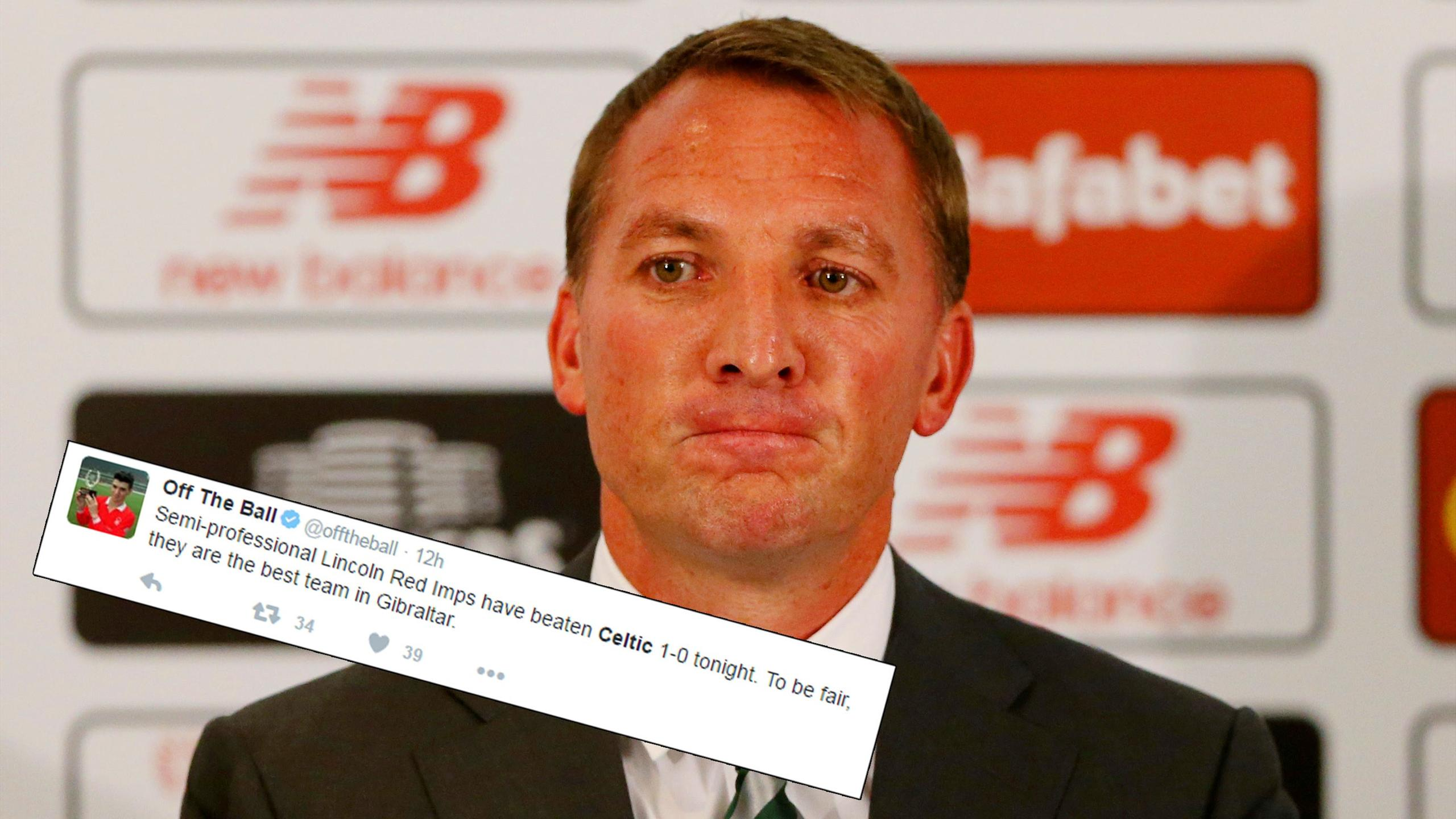Celtic boss Brendan Rodgers and reaction to their defeat to the Red Imps of Gibraltar