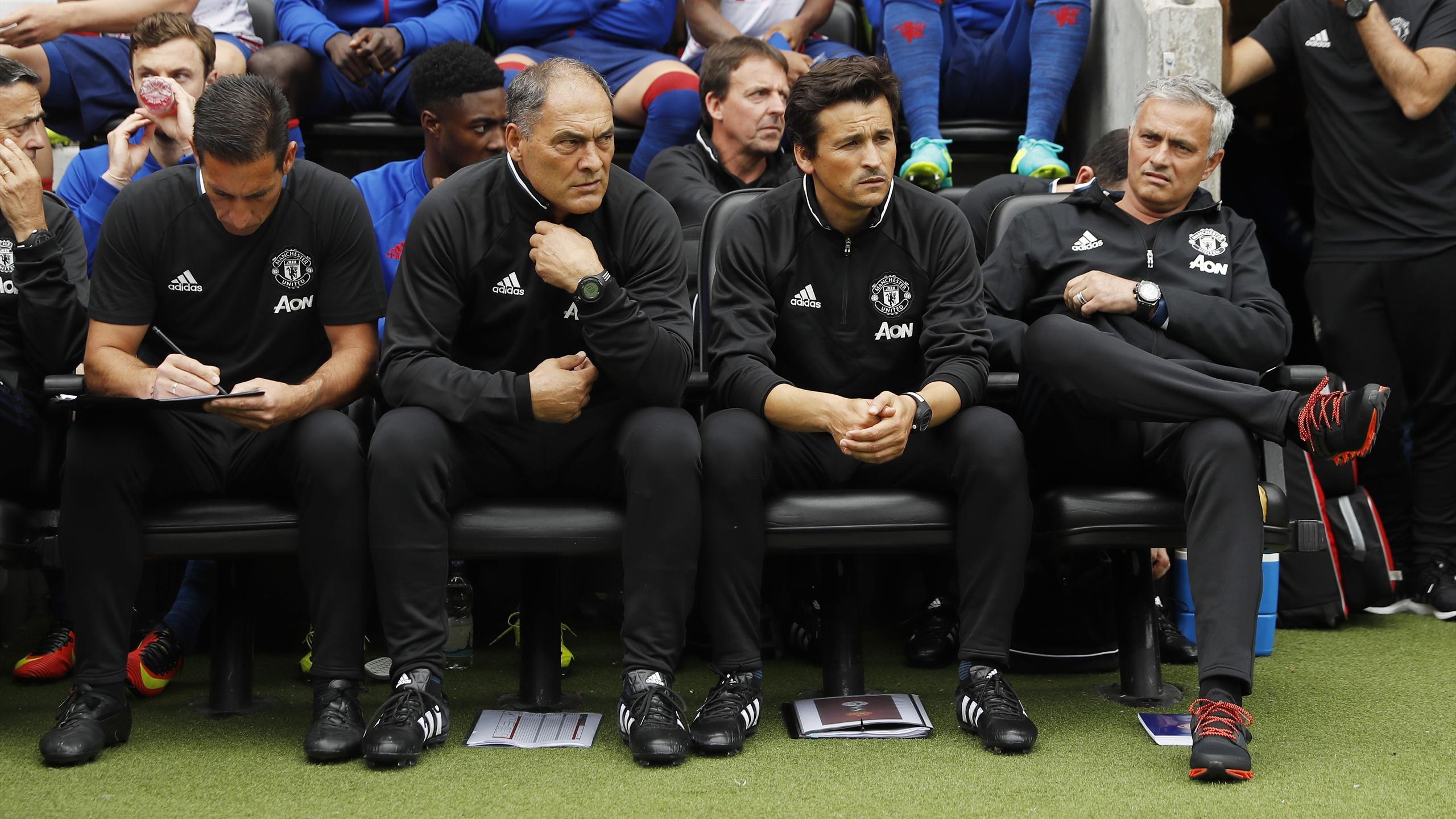 Manchester United coach Emilio Alvarez, Silvino Louro, assistant manager Rui Faria and manager Jose Mourinho