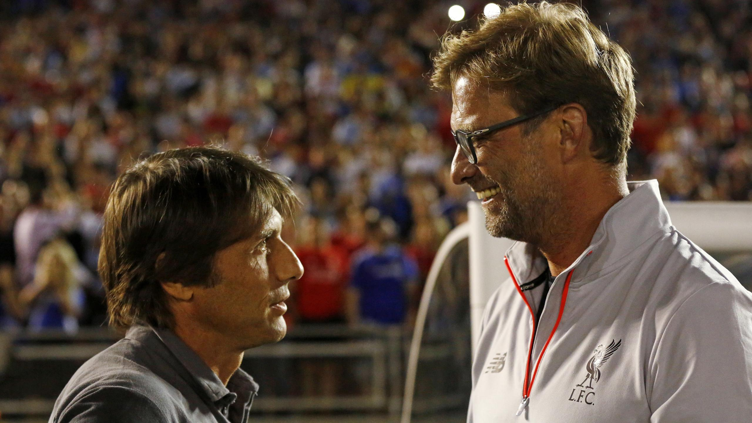 Chelsea's manager Antonio Conte with Liverpool's manager Juergen Klopp.
