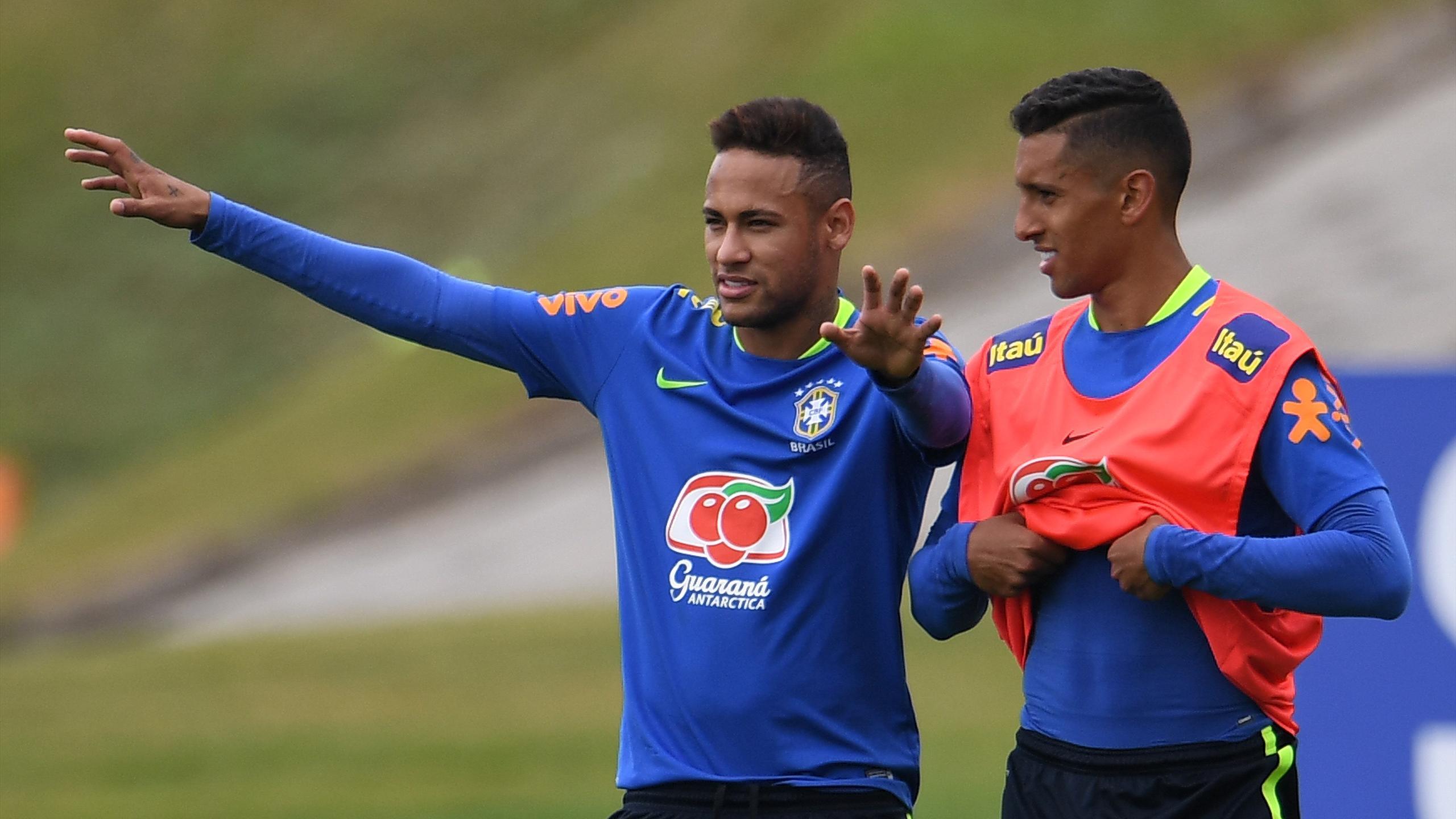 Neymar et Marquinhos à l'entraînement avec la Seleçao avant les Jeux Olympiques de Rio