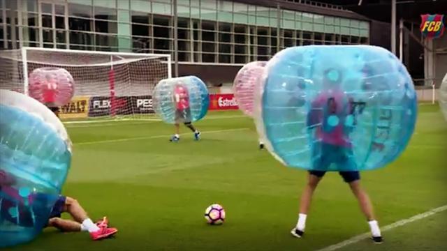Les joueurs du Barça ont testé le bubble bump et ils ont aimé ça !
