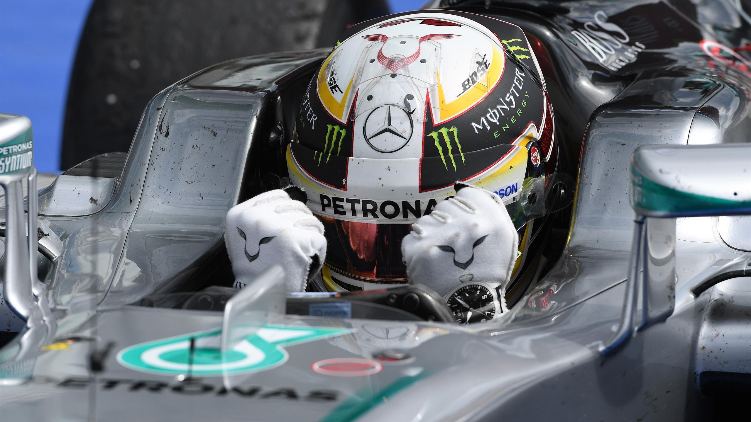Lewis Hamilton (Mercedes) à l'arrivée du Grand Prix d'Allemagne 2016