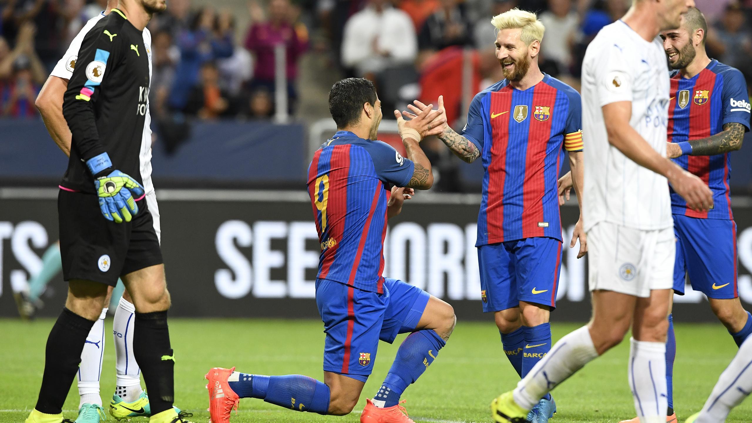 Messi et Suarez (Barcelone) face à Leicester
