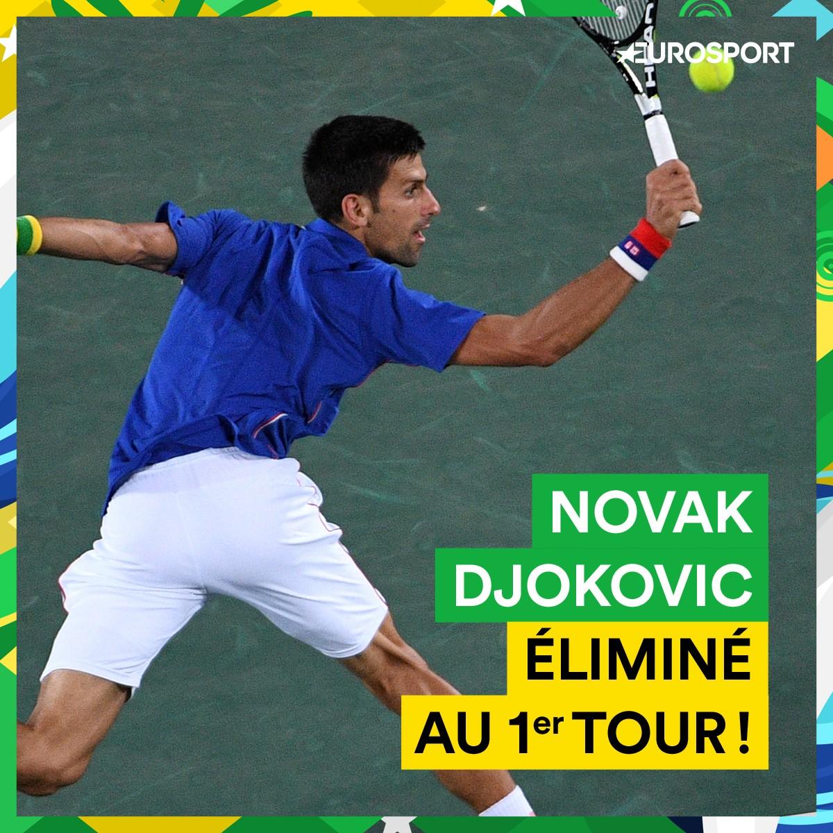 Visuel : Novak Djokovic battu dès le 1er tour par Juan Martin Del Potro