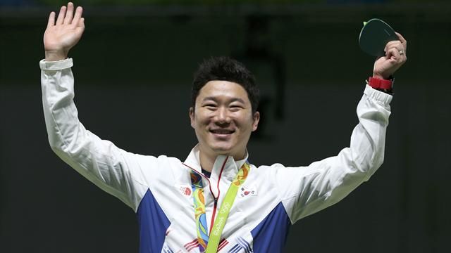 South Korea's Jin wins third straight gold in 50m pistol