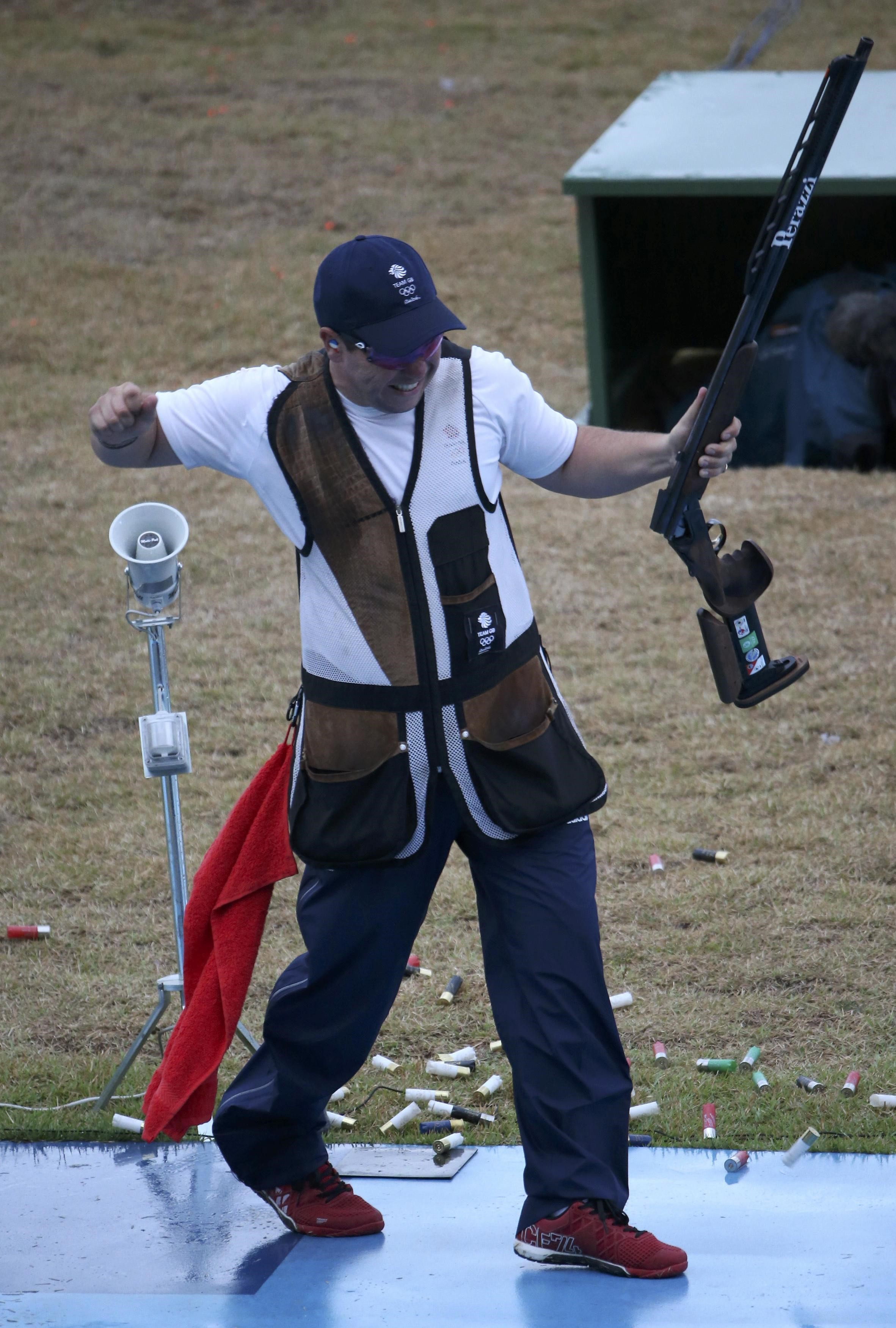 2016 Rio Olympics - Shooting - Final - Men's Double Trap Finals - Olympic Shooting Centre - Rio de Janeiro, Brazil - 10/08/2016. Steven Scott (GBR) of United Kingdom reacts.