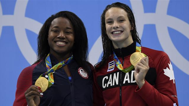 Oleksiak and Manuel tie for 100m freestyle gold