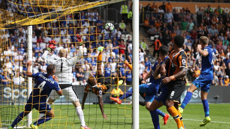 Hull City's Abel Hernandez scores their first goal