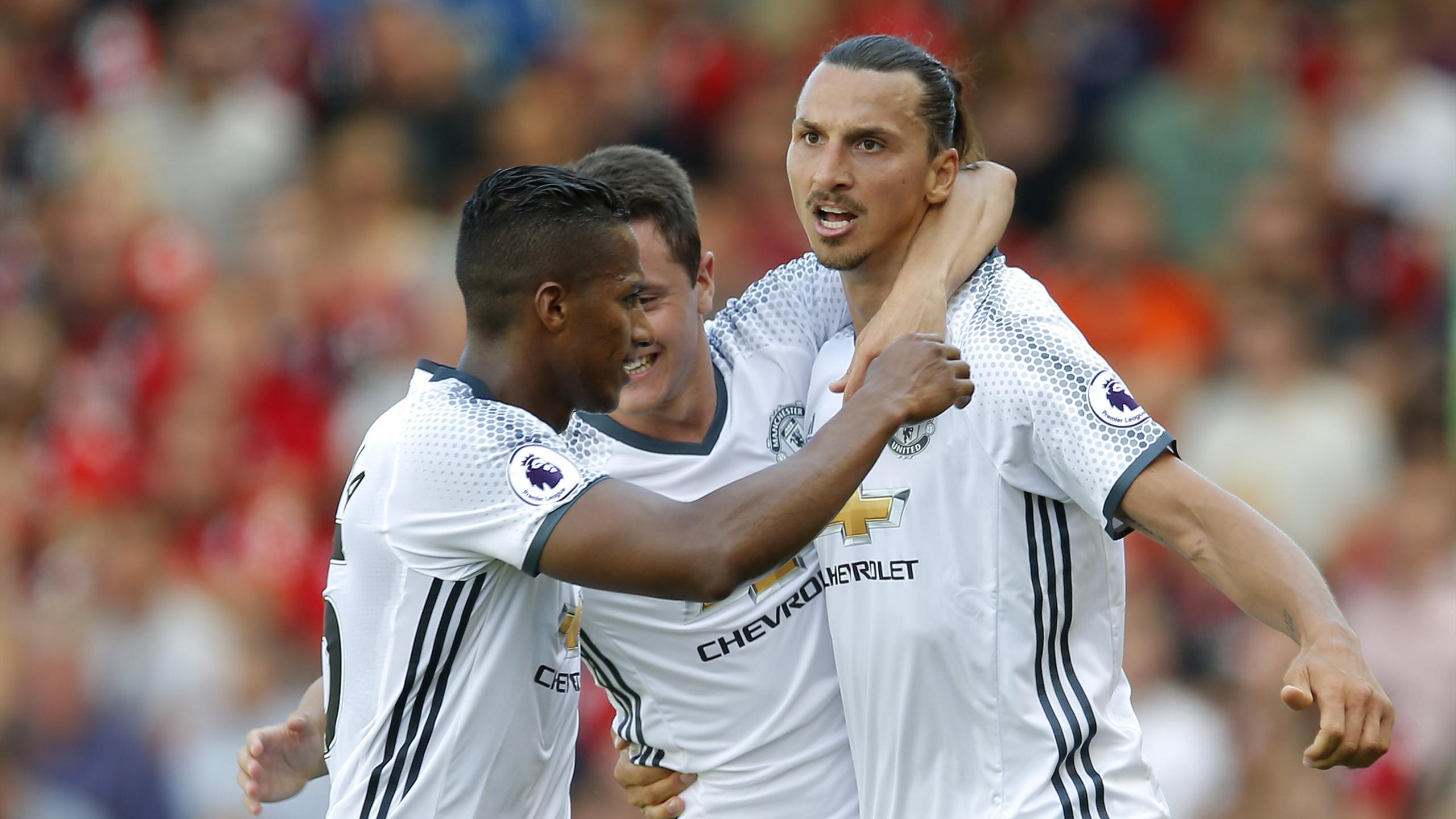Zlatan Ibrahimovic celebrates his goal for Manchester United